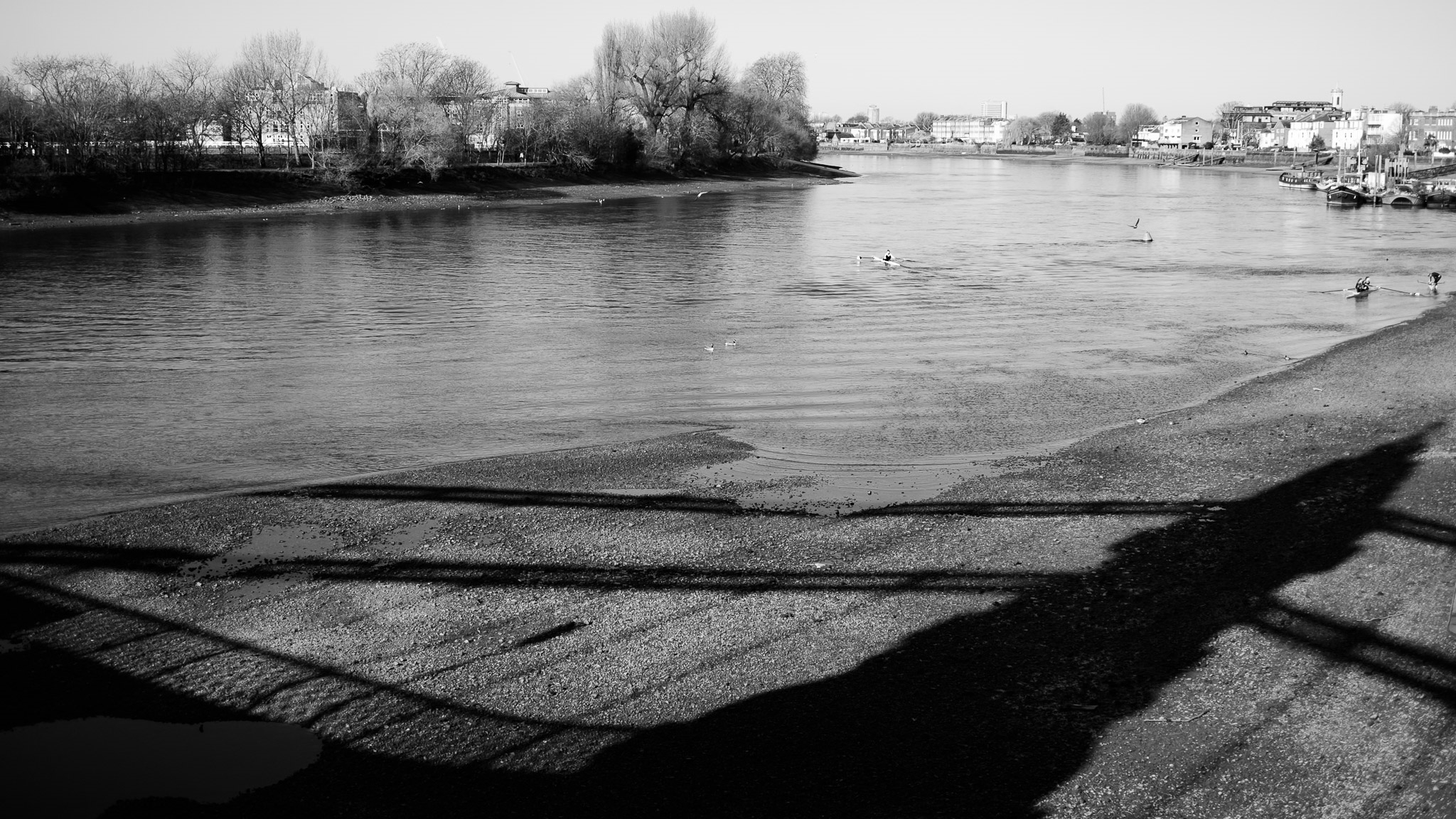 In the shadow Hammersmith Bridge, London two days before the 2016 Oxford Cambridge boatrace
