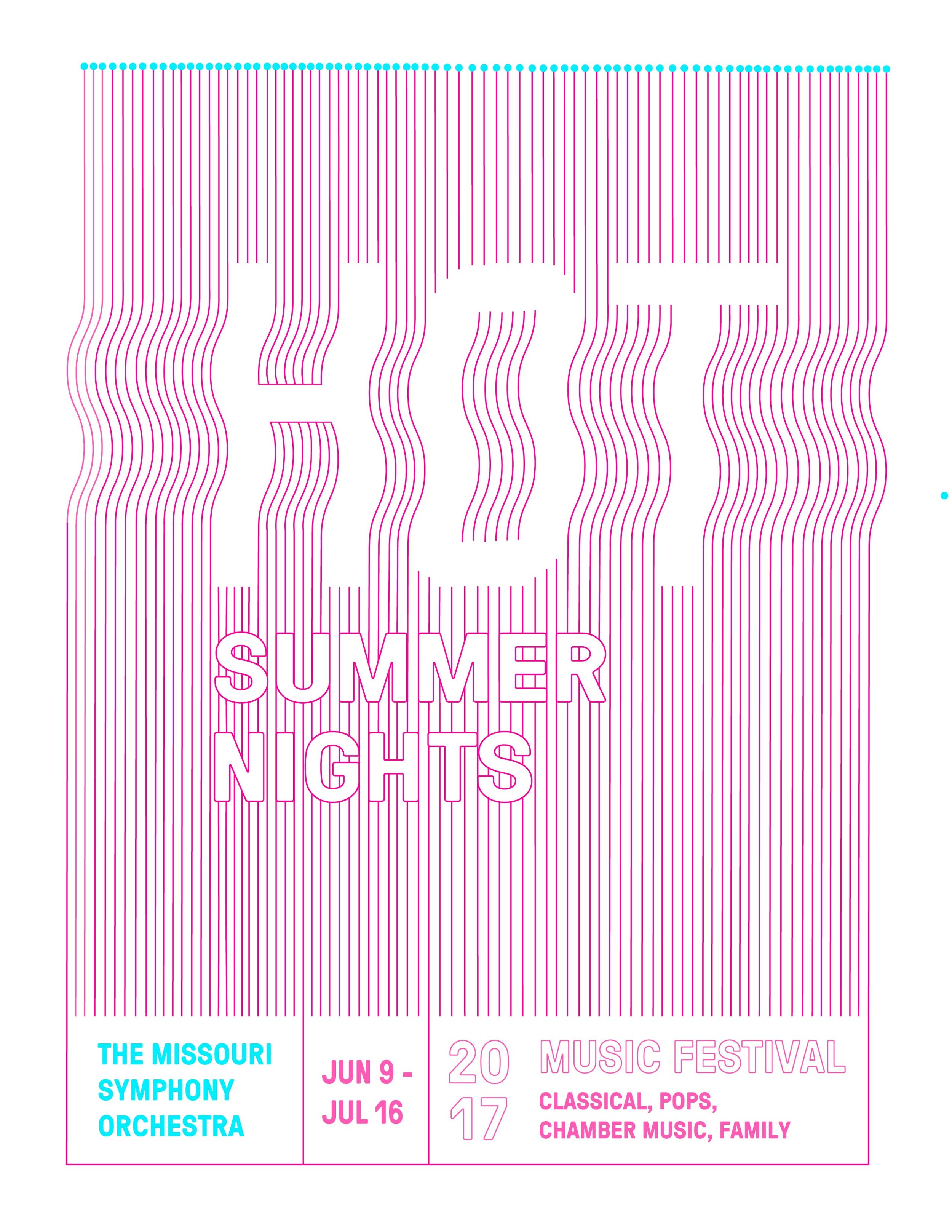 Promotional Poster Design for 'Hot Summer Nights' for  The Missouri Symphony Orchestra