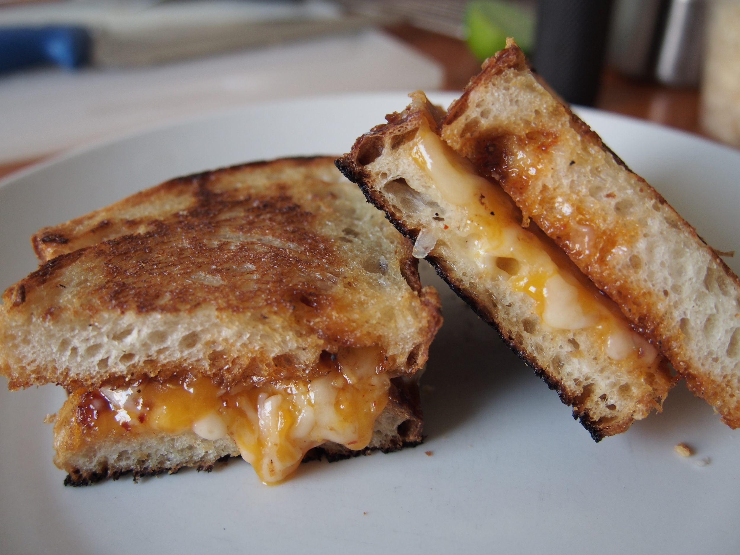 Gruyere, Cheddar, and Pepper Jack Grilled Cheese Sandwich with Thai Roast Chili Jam