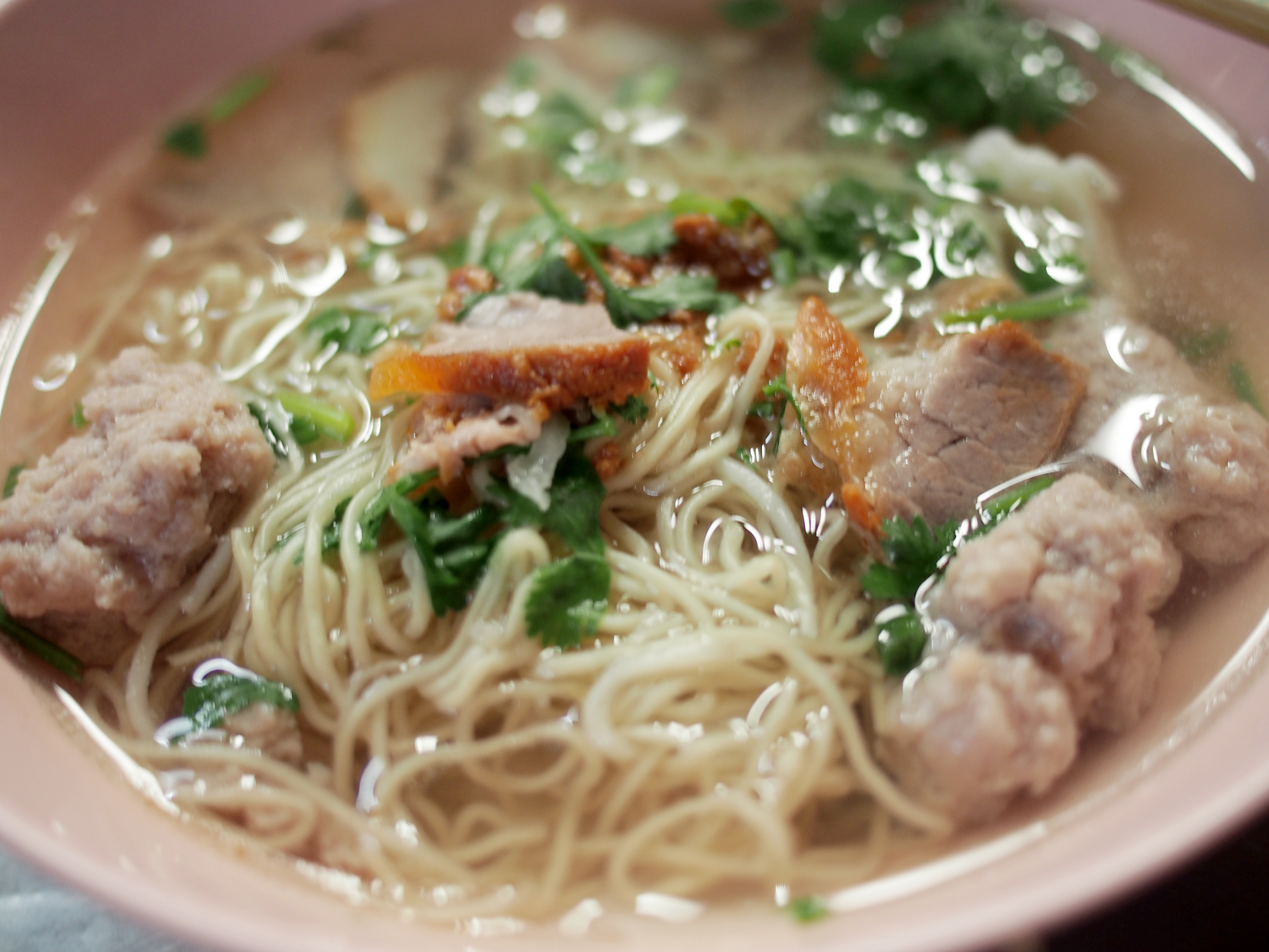 Pork bamee with clear soup, noodle stall, 100 Year Market, Samchuk, Thailand.