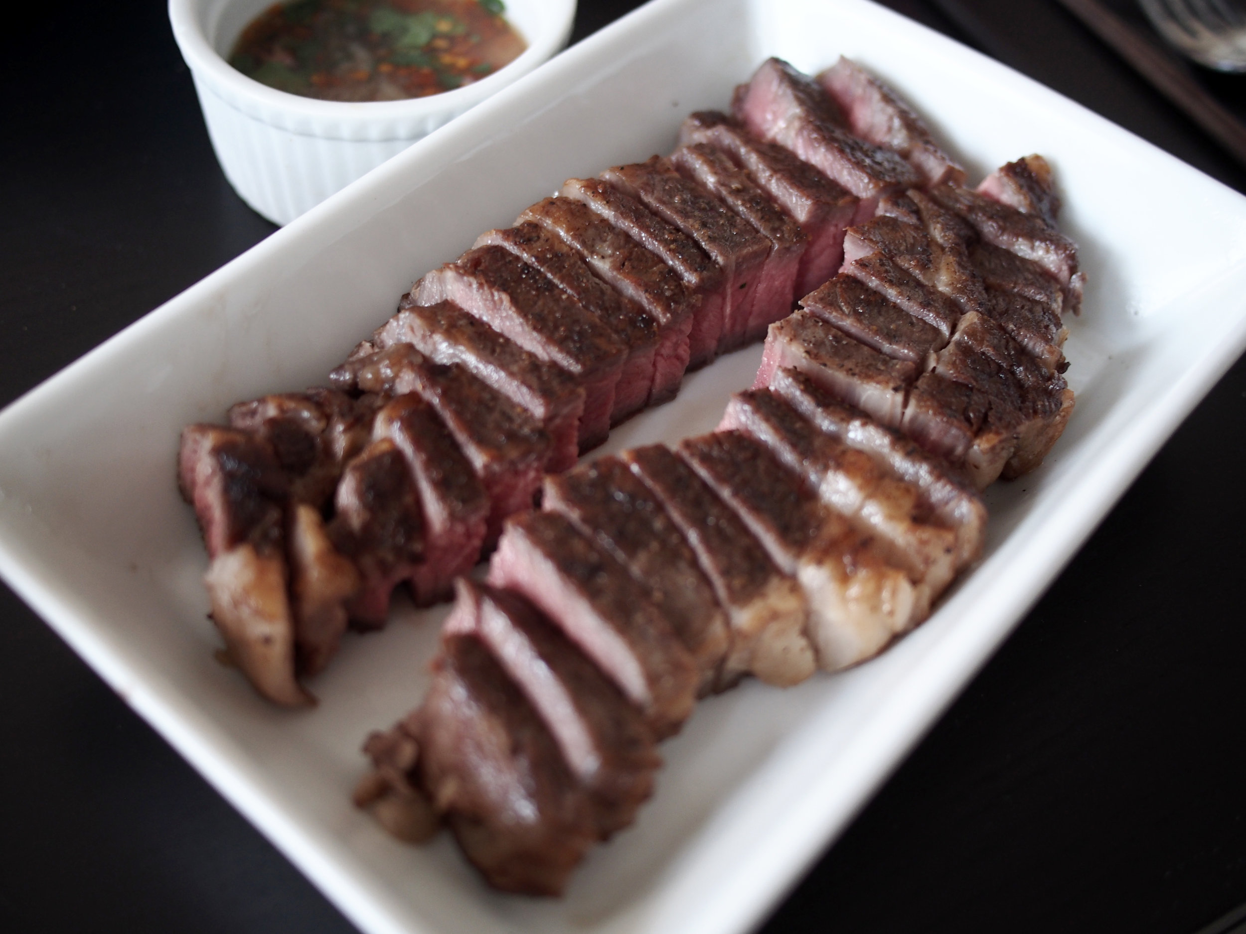 Sous vide rib eye steak with Thai jaew sauce