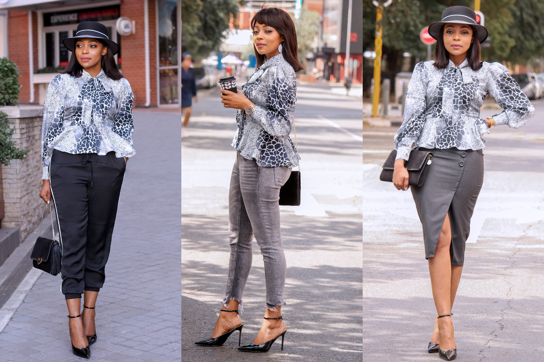 Our chic Leopard silk blouse , Can be styled with track pants, jeans and a pencil skirt , silk brings out a luxurious classy feel to any look it automatically transforms a simple look to a classy one