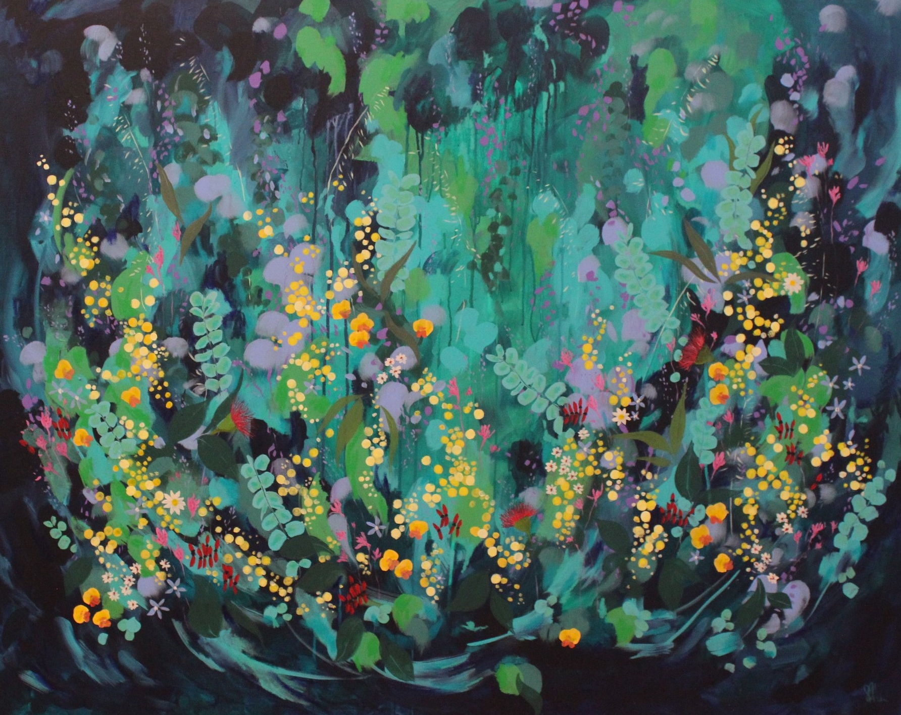 Susan Nethercote,  Flowers for Maude,  2018, acrylic and oil pastel on canvas, 122 x 153cm.