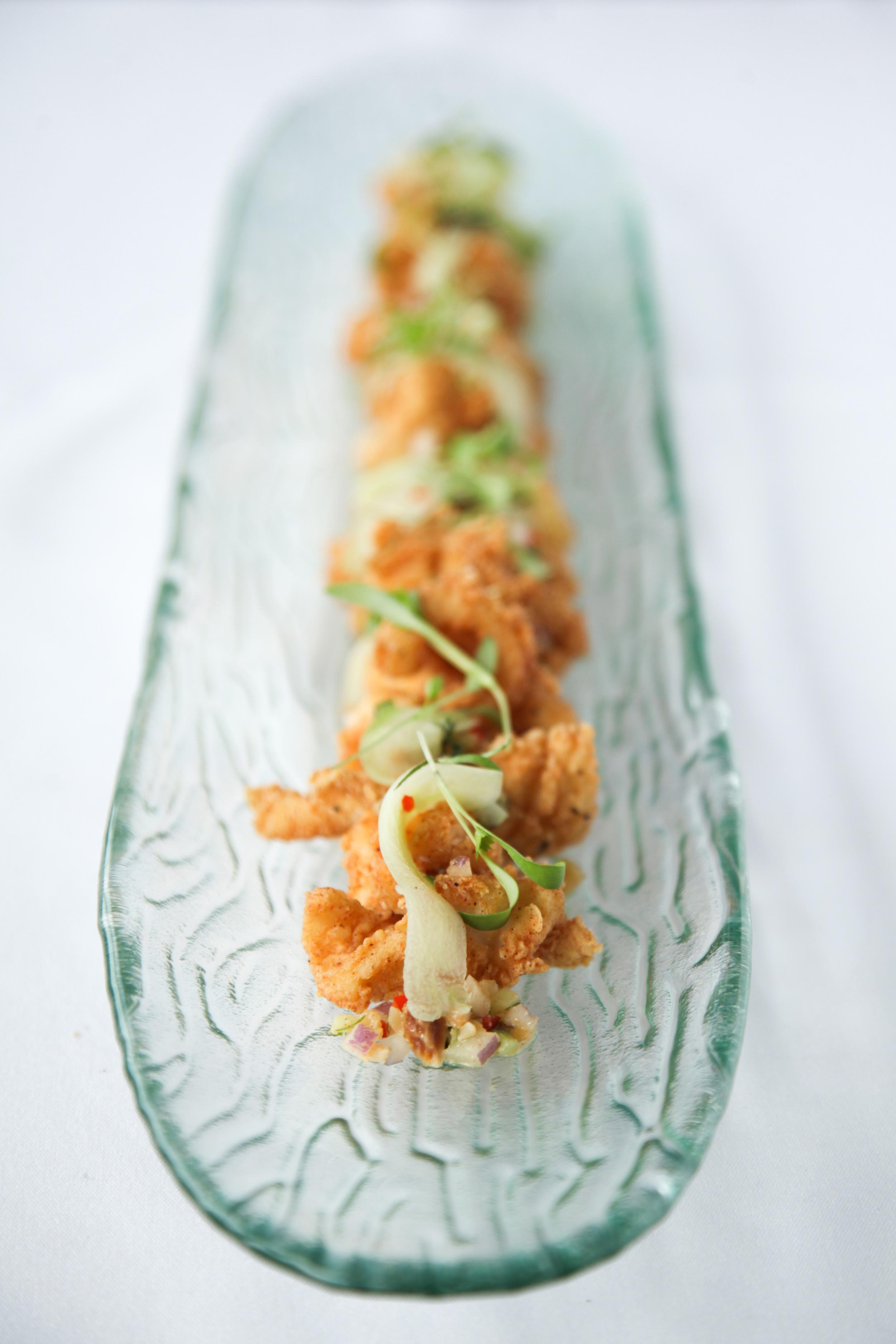 Spiced calamari, peanut cucumber relish, chilli caramel, nam jim, coriander & mint