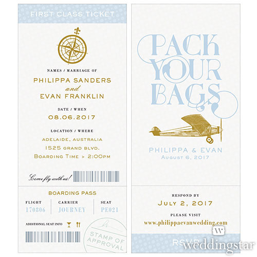 Vintage Boarding Pass Style Invitation - BUY NOW