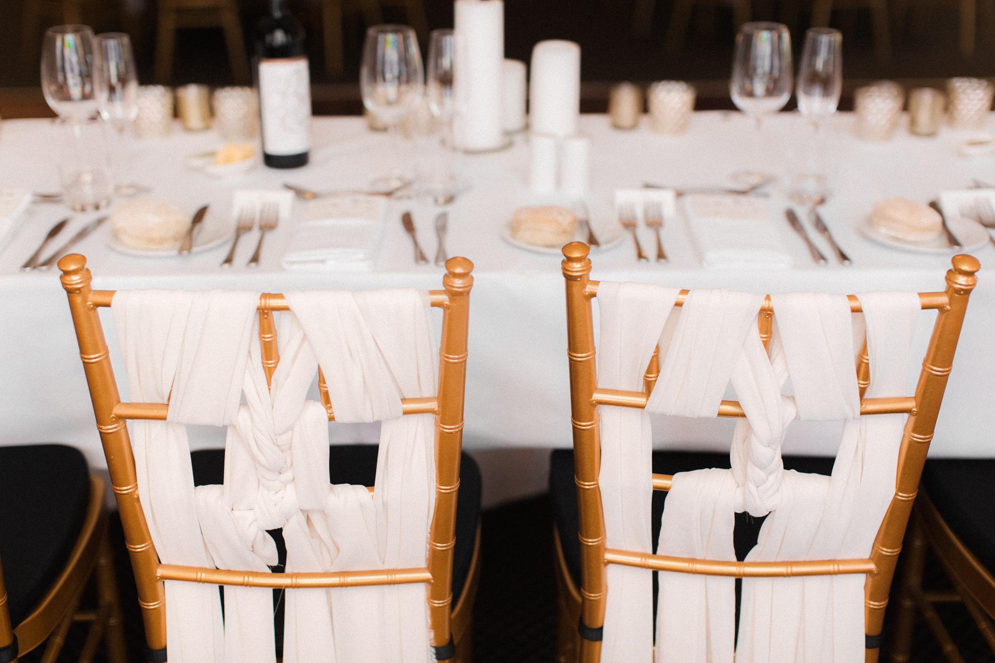 Braided chiffon bridal chairs by Harlow Garland