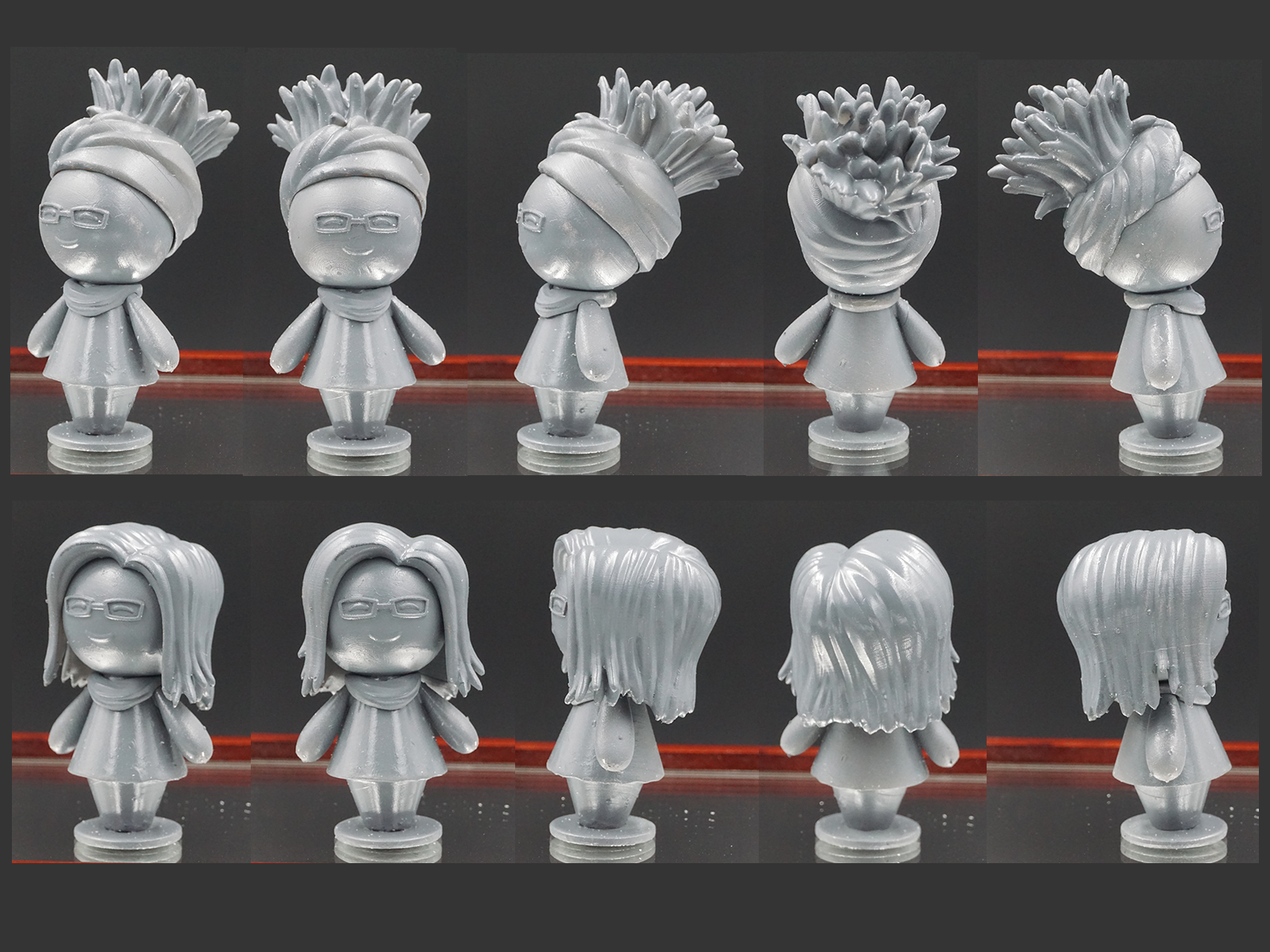 Turnaround of Each 3d Print Character