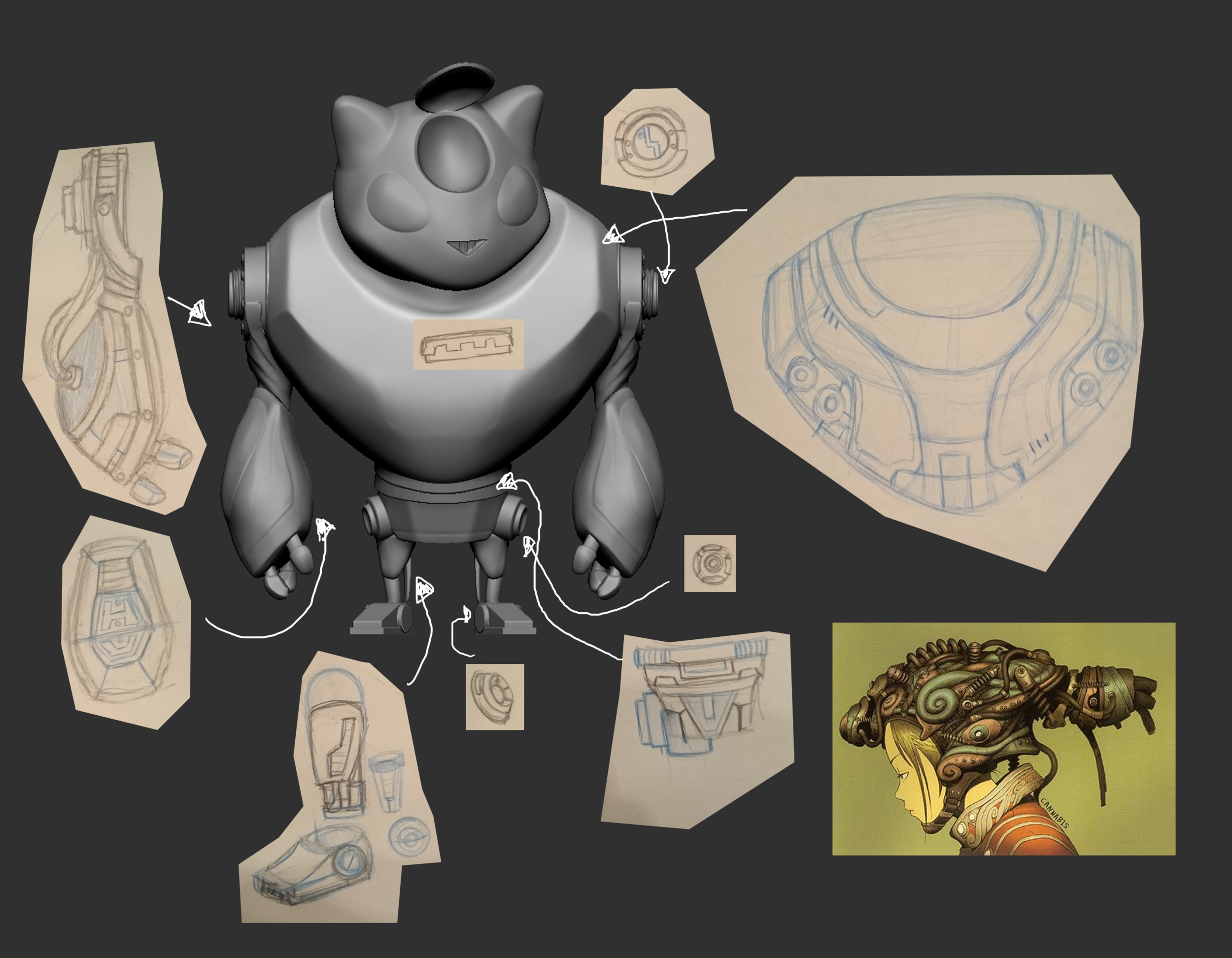 Sketching out ideas of what details I could add in.