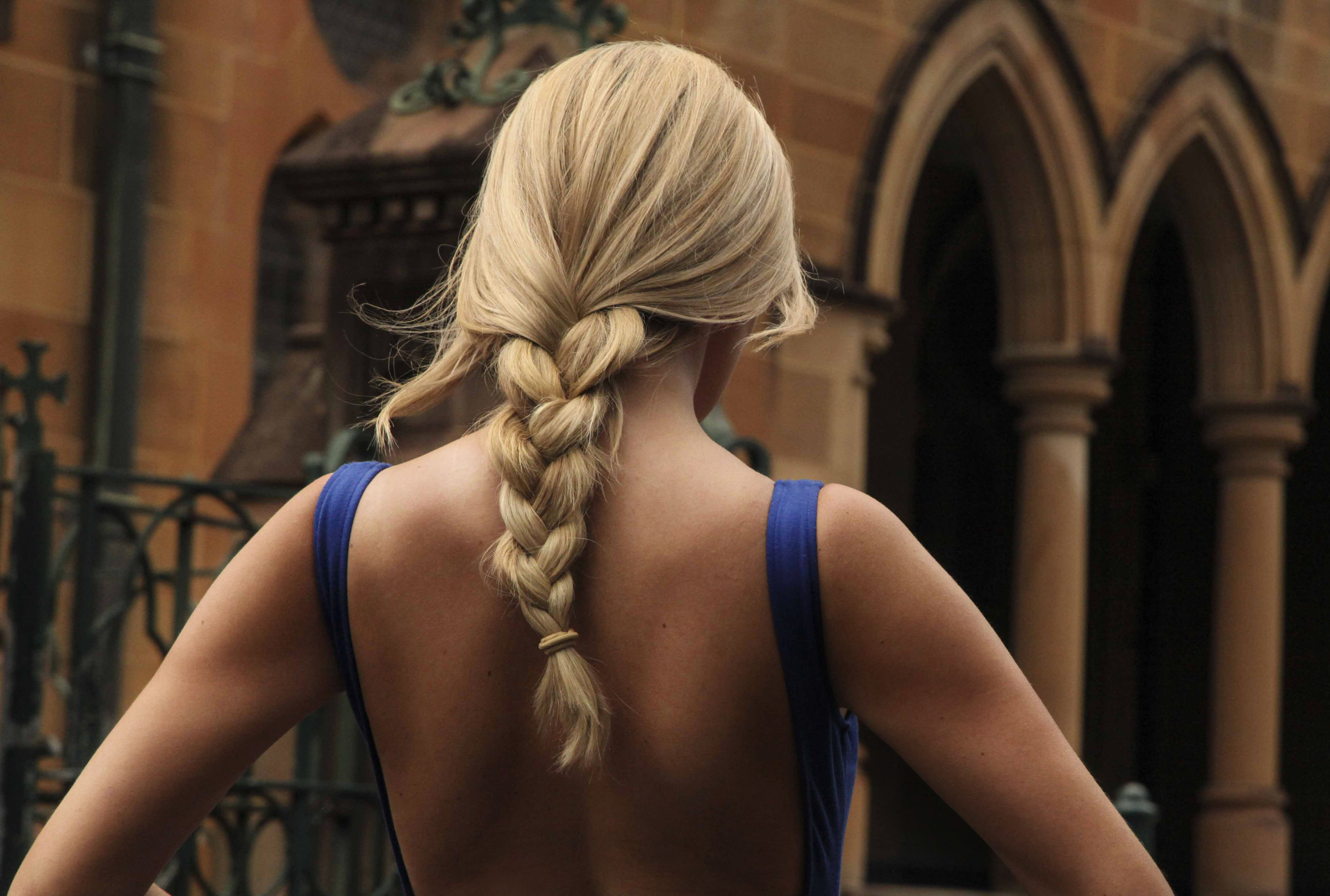 Blue dress and blonde braid