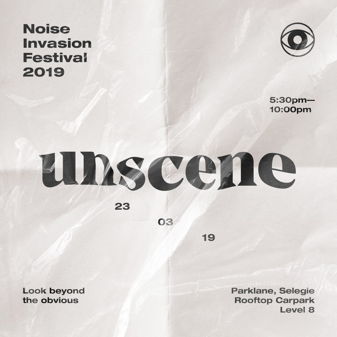 """#UNSCENE    Look beyond the obvious.   Similar to the inaugural Noise Invasion Festival held at Haw Par Villa in 2017 which saw an attendance of close to 10,000 people, the second edition of Noise Invasion Festival is a raw platform not bound by preconceived ideas.  Unscene: Noise Invasion Festival 2019 will showcase an alternative scene for Singaporean urban culture and music, initiating projects by various artists, bringing underground culture overground to the masses.   The festival will be taking over the rooftop carpark of Parklane Mall (Selegie) for one night only, filling the usually untrodden space with fresh sounds and edgy visuals.   Experience the infectious energy of our eclectic electronic line up, with performances by the 16-year-old award-winning electro-pop darling Shye-Anne Brown, experimental genre-bending producer Fauxe SG and sets by Funk Bast*rd and Kaye from the acclaimed underground music collective/label, Darker Than Wax.  Indulge your senses by jumping head first into alternative, immersive sound and light experiences. Inspired by the festival concept """"Unscene"""", expect a variety of interactive, and of course, Instagrammable art installations by inventive Singaporean artists such as Zoey Wong, and the creatives behind a bold and cheeky Singaporean  fashion collective.   Get drawn into mystery and wonderment of shared experiences created by the compelling exploratory dance collective P7:1SMA, who use the power of dance to connect, question, and investigate the essence of the human condition.   No festival experience would be complete without grub and booze! However, exorbitant festival prices don't apply at Noise Invasion Festival, with the most expensive grub only coming up to $7.  Lastly, attractive prizes such as EZ Link cards loaded with up to $200 value will be up for grabs online through Instagram @noiseinvasionfest and at the festival! Follow us on IG now and keep your eyes peeled.   Admission is FREE!   Programmed by Noise Singapore an"""