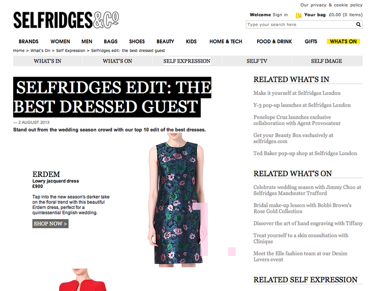 셀프리지 에딧   사진 출처: http://style.selfridges.com/self-expression/selfridges-edit-best-dressed-guest