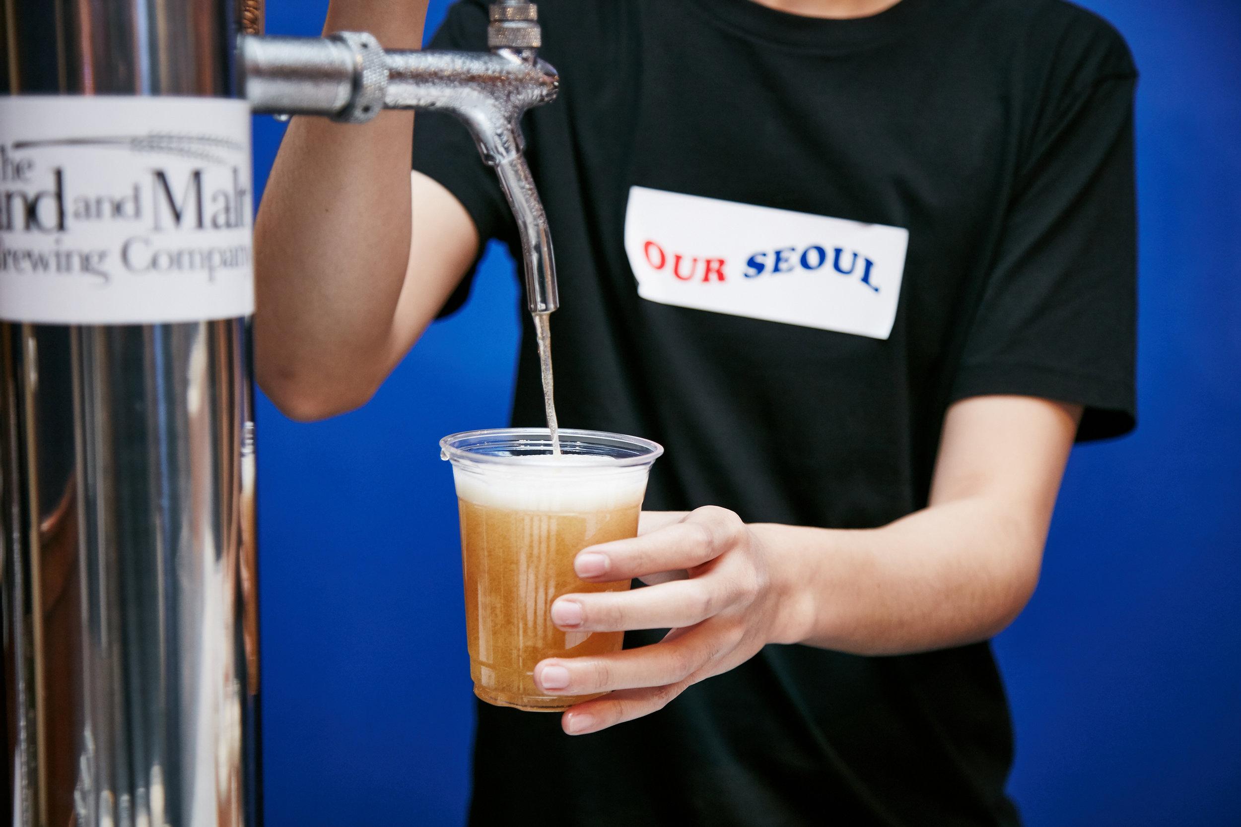 Getting the maekju (Korean Beer) ready for Chi-Maek!