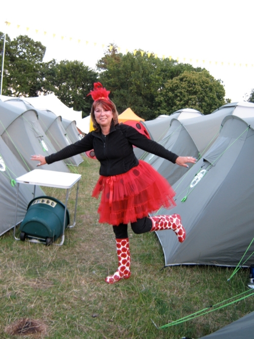 Dressed as a ladybug a few years ago at Latitude Festival. Note the black thermal leggings & top!