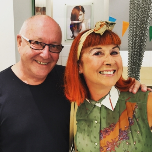 Here I am with the great Trevor Sorbie in the days of bright red hair!