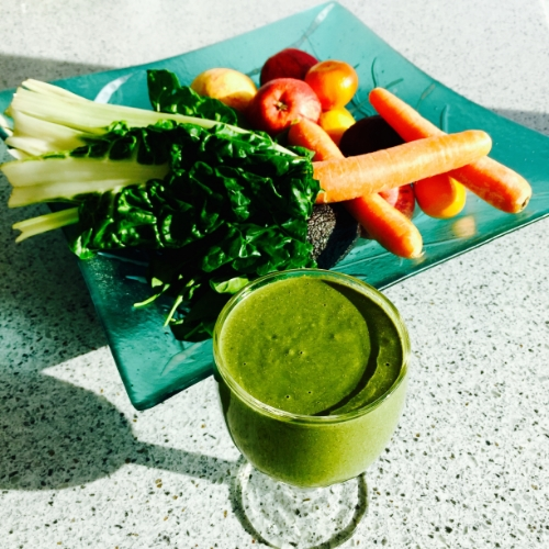 Chard, spinach, carrots, raw peppers, apple, pear or berries equals beautiful skin, great health and successful weight loss.