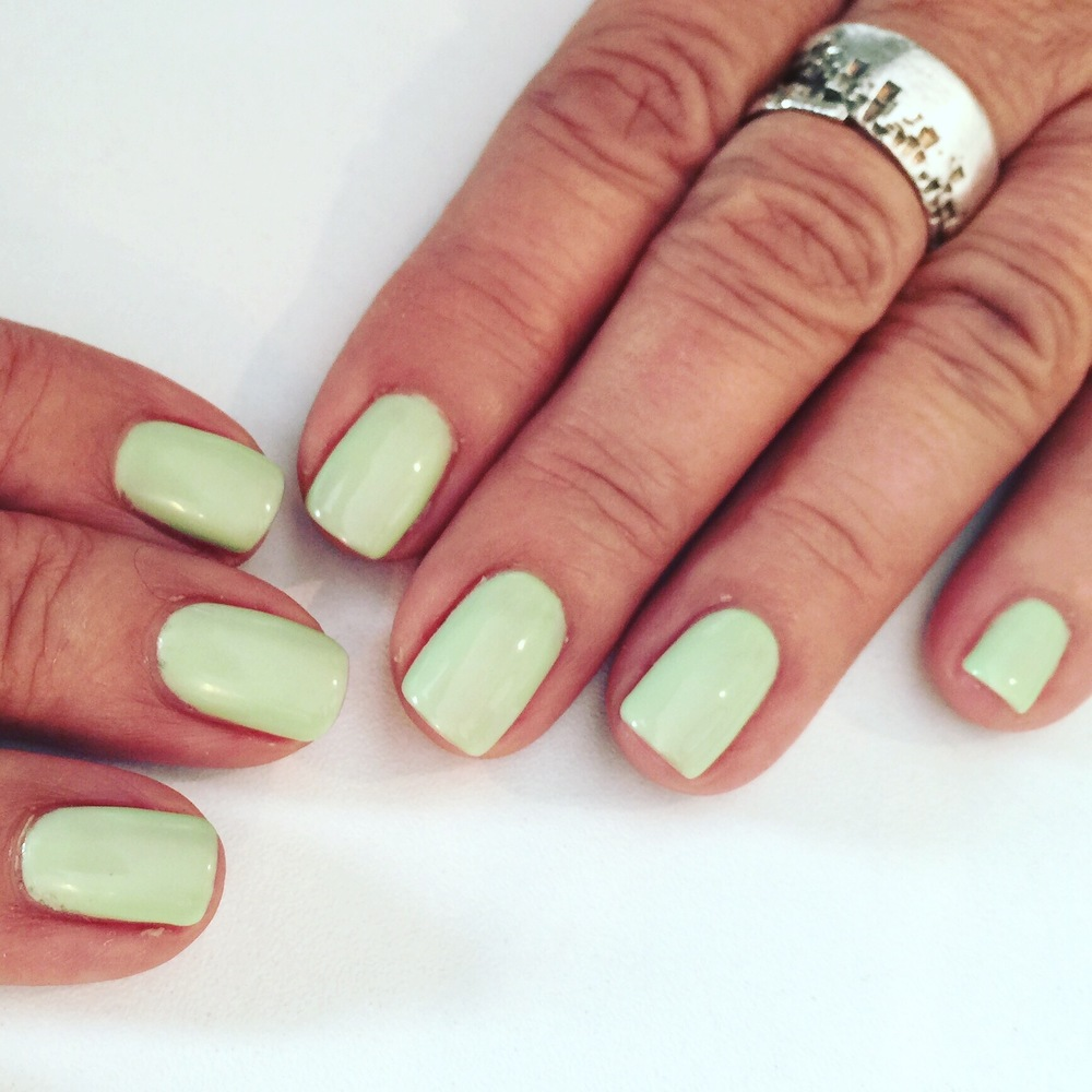 Pretty nails complete an interesting outfit. Loving this gellux green this summer.