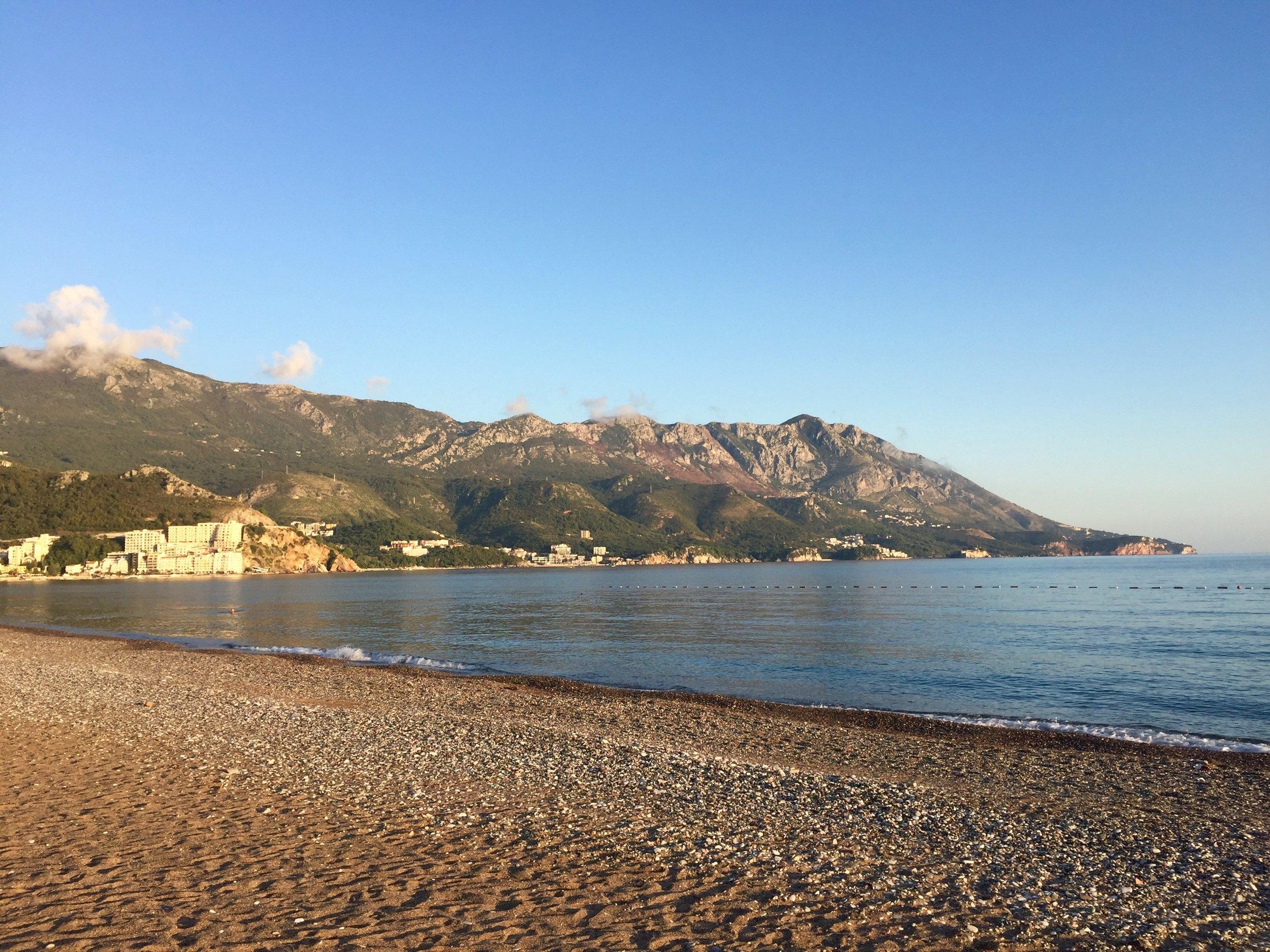 The beach at Budva in Montenegro