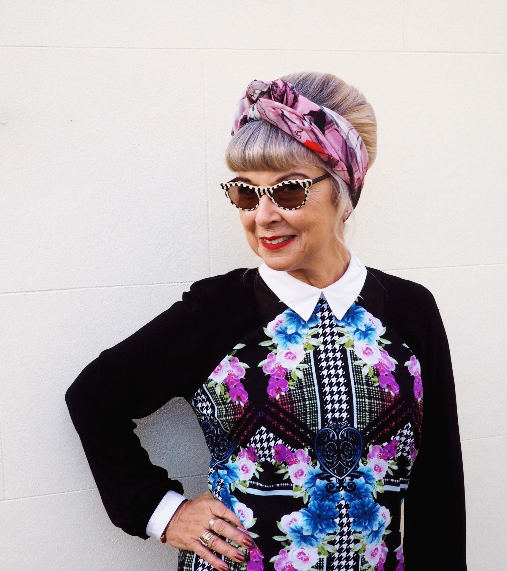 styling up an old dress with vintage sunnies & headscarf