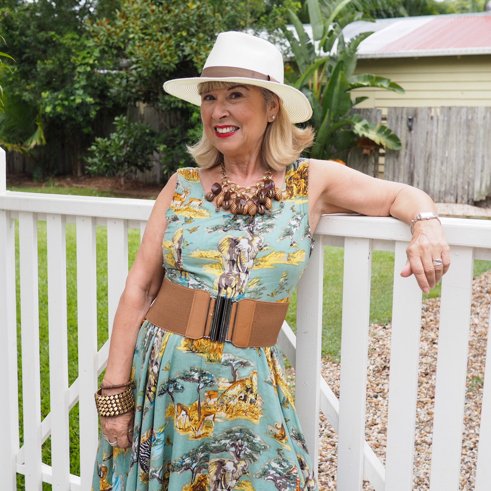 My vintage style cotton summer dress with accessories to make it more formal.