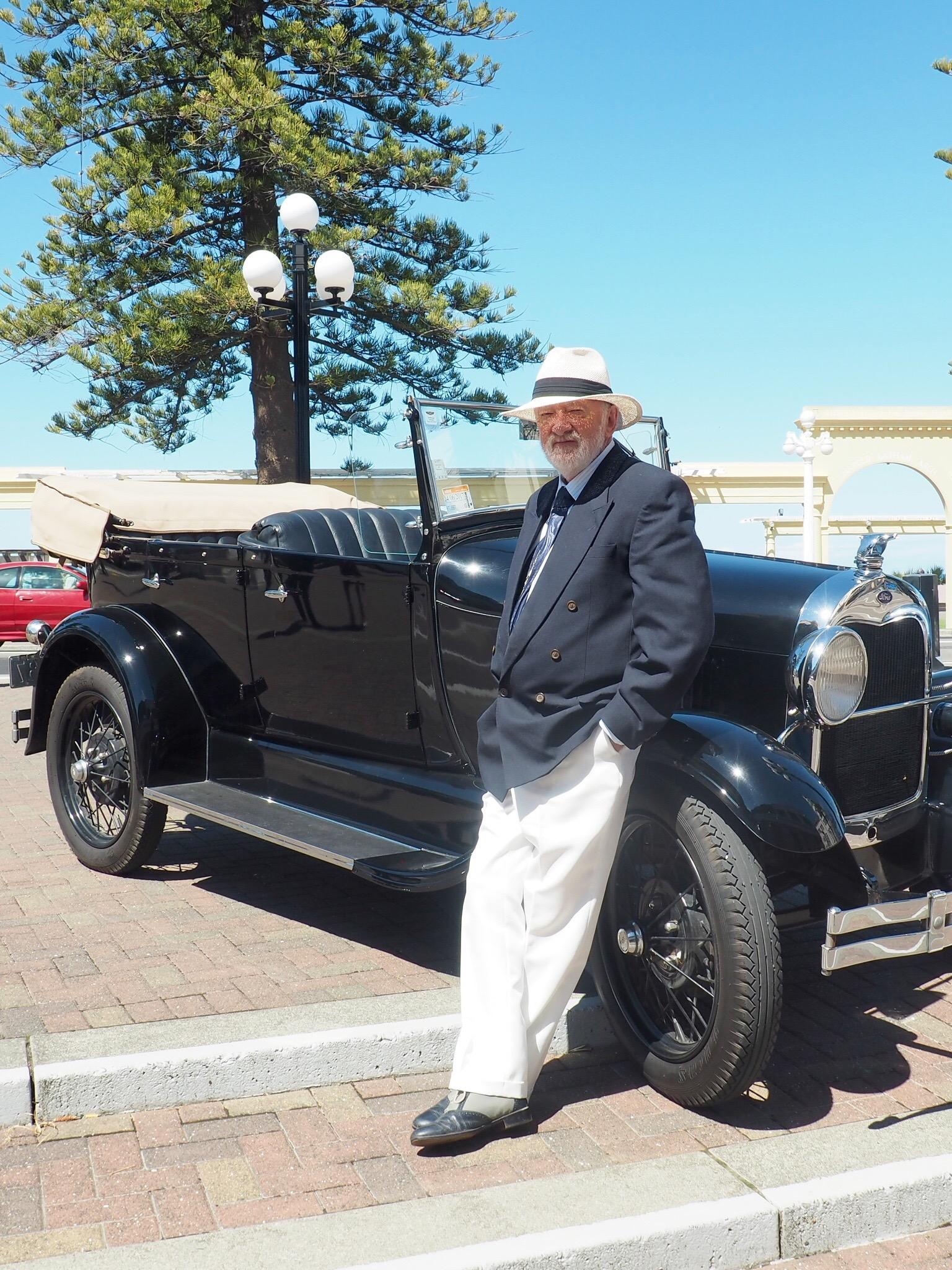 Leigh Patterson & his vintage car. Napier. New Zealand.