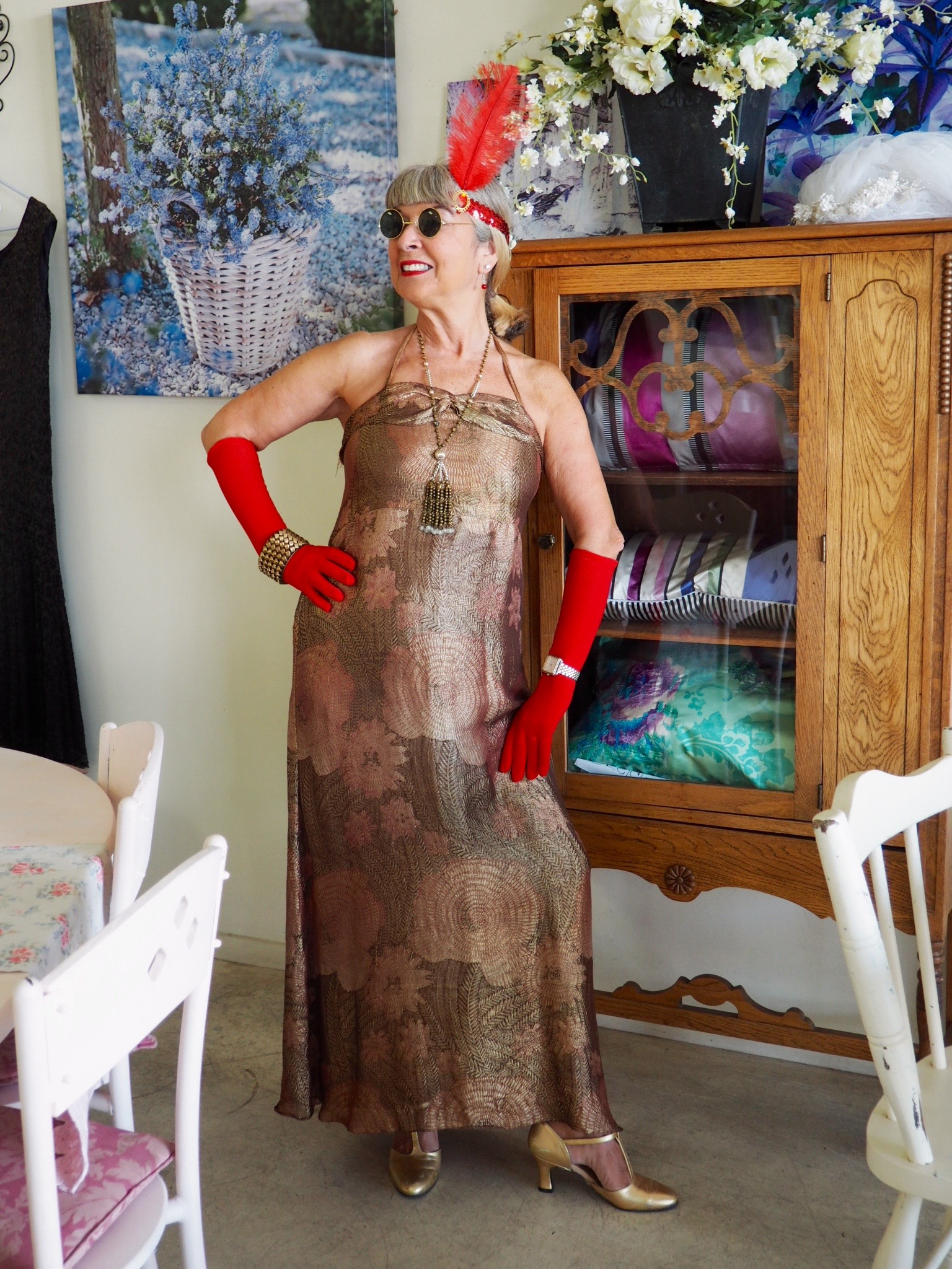 In my 20s dress for Art Deco tea at Port O Call in Napier, New Zealand.