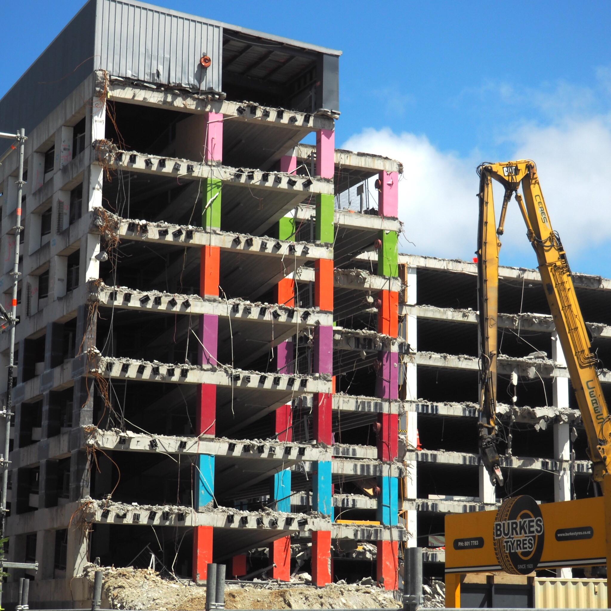 The reading cinema car park. wellington. being demolished because of earthquake damage.