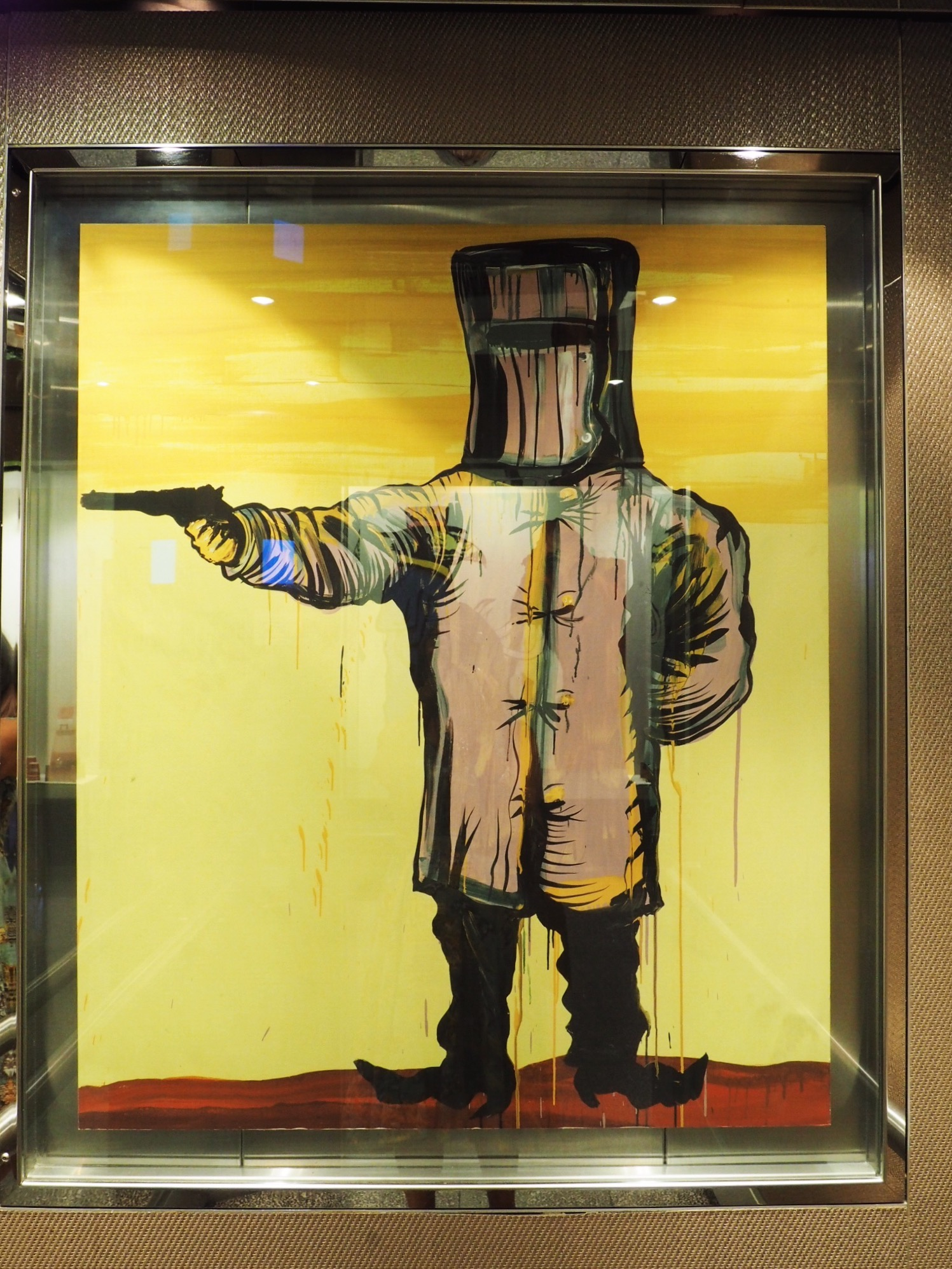 Adam Cullen's art. The Cullen Hotel's lift. Melbourne.