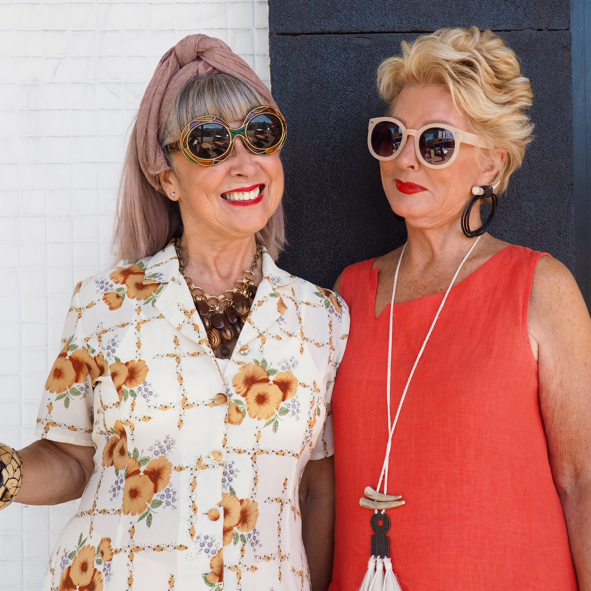 My $15 vintage dress. Vintage sunnies. With The Stylish Woman, Melbourne.