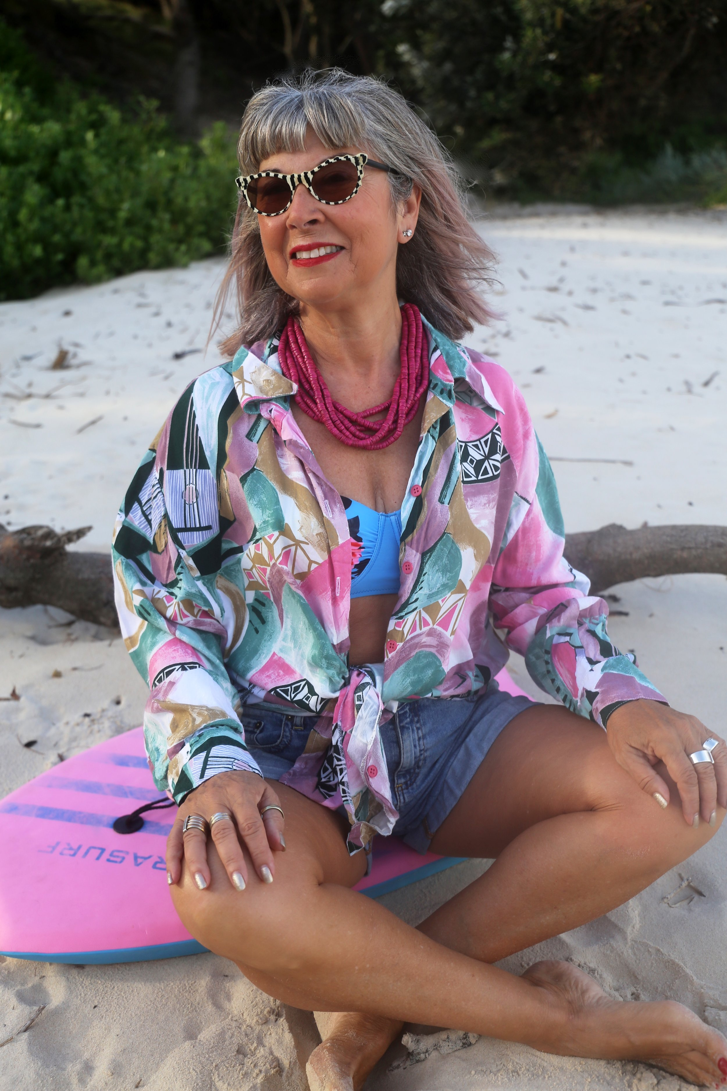 Vintage shirt, vintage sunglasses, retro two piece & a pink necklace from East to complete the look. I'm ready for the beach!