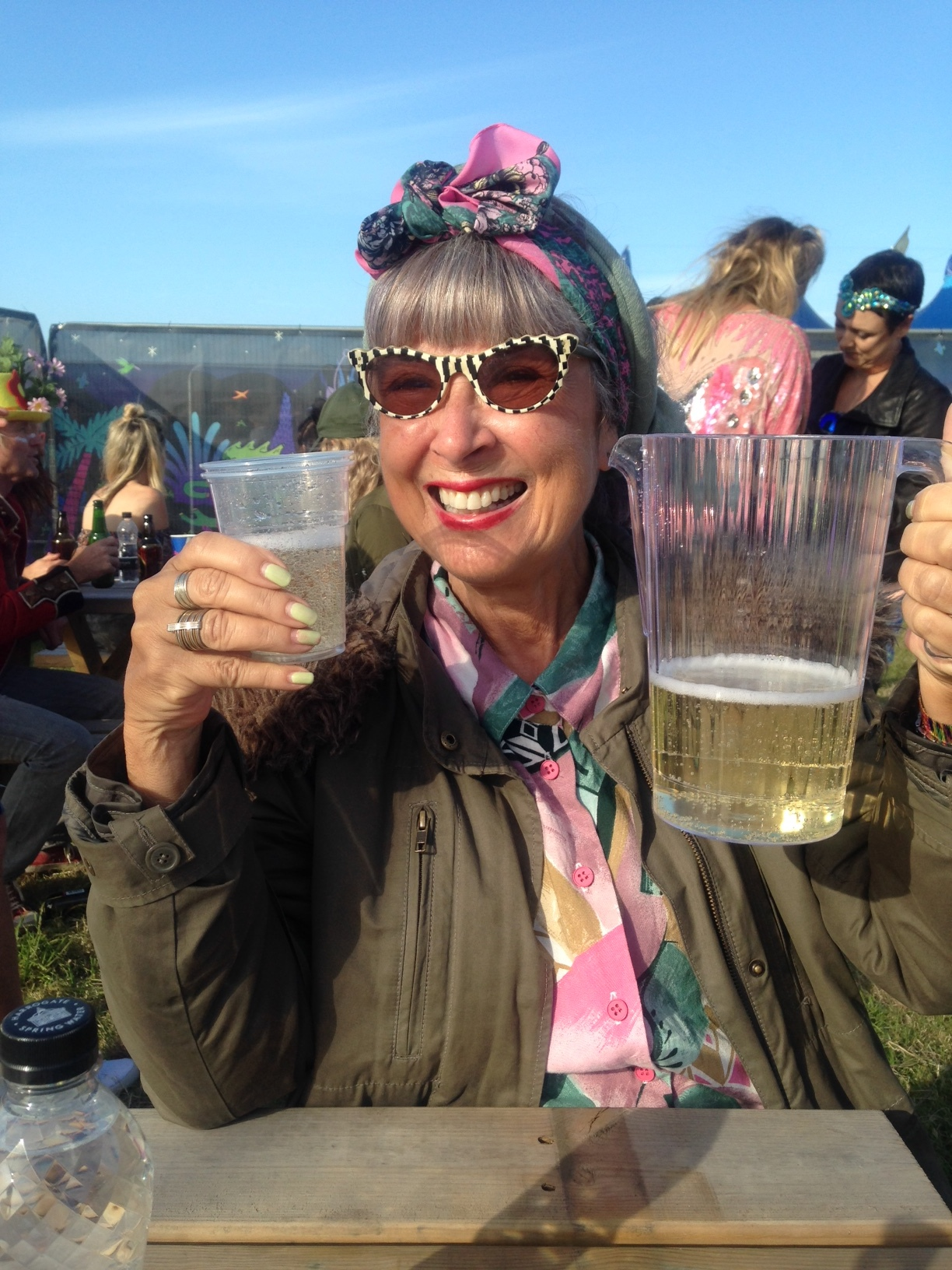 A jug of prosecco always helps you survive a festival!