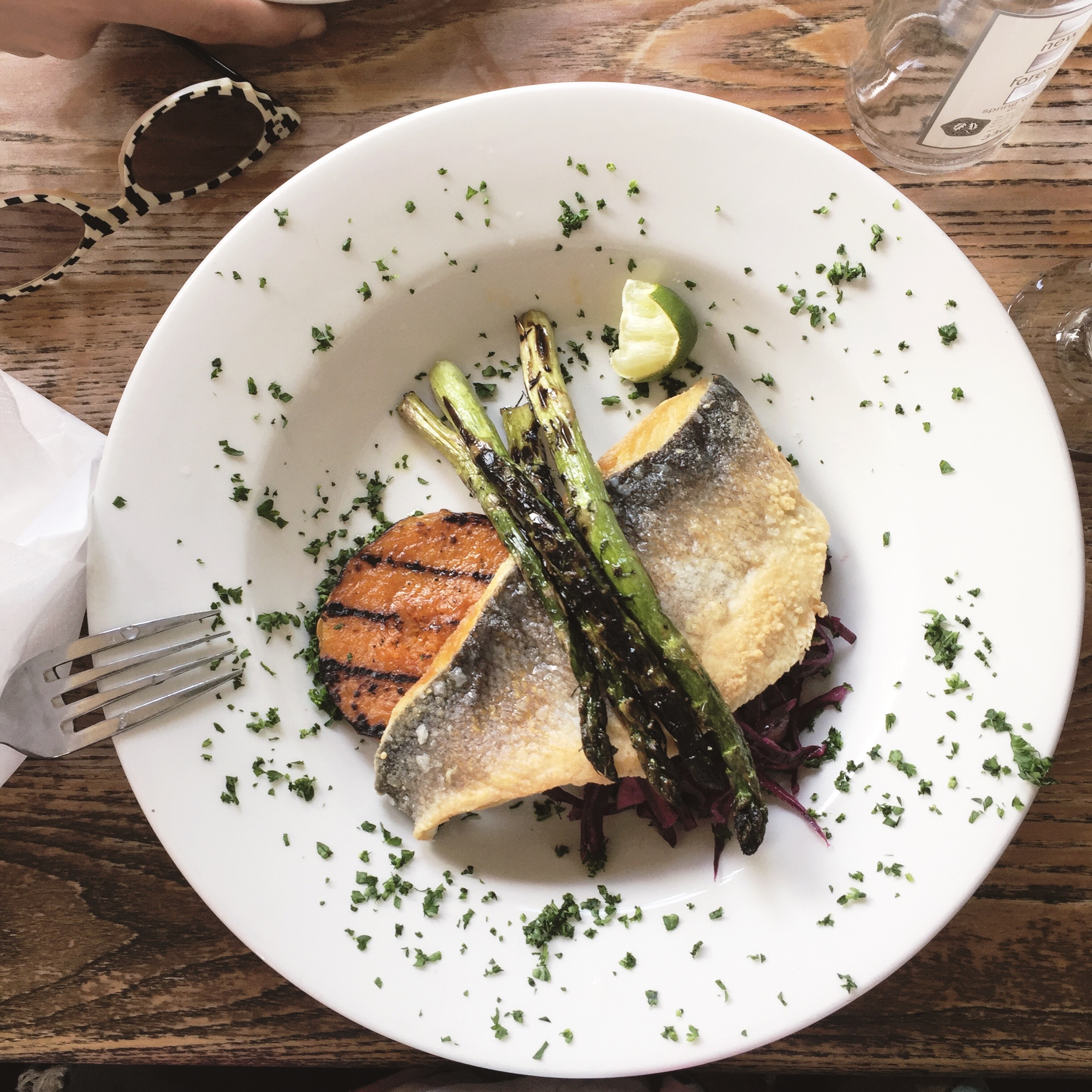 Stock up on your protein & carbs before a festival! Seabass, asparagus & sweet potato.