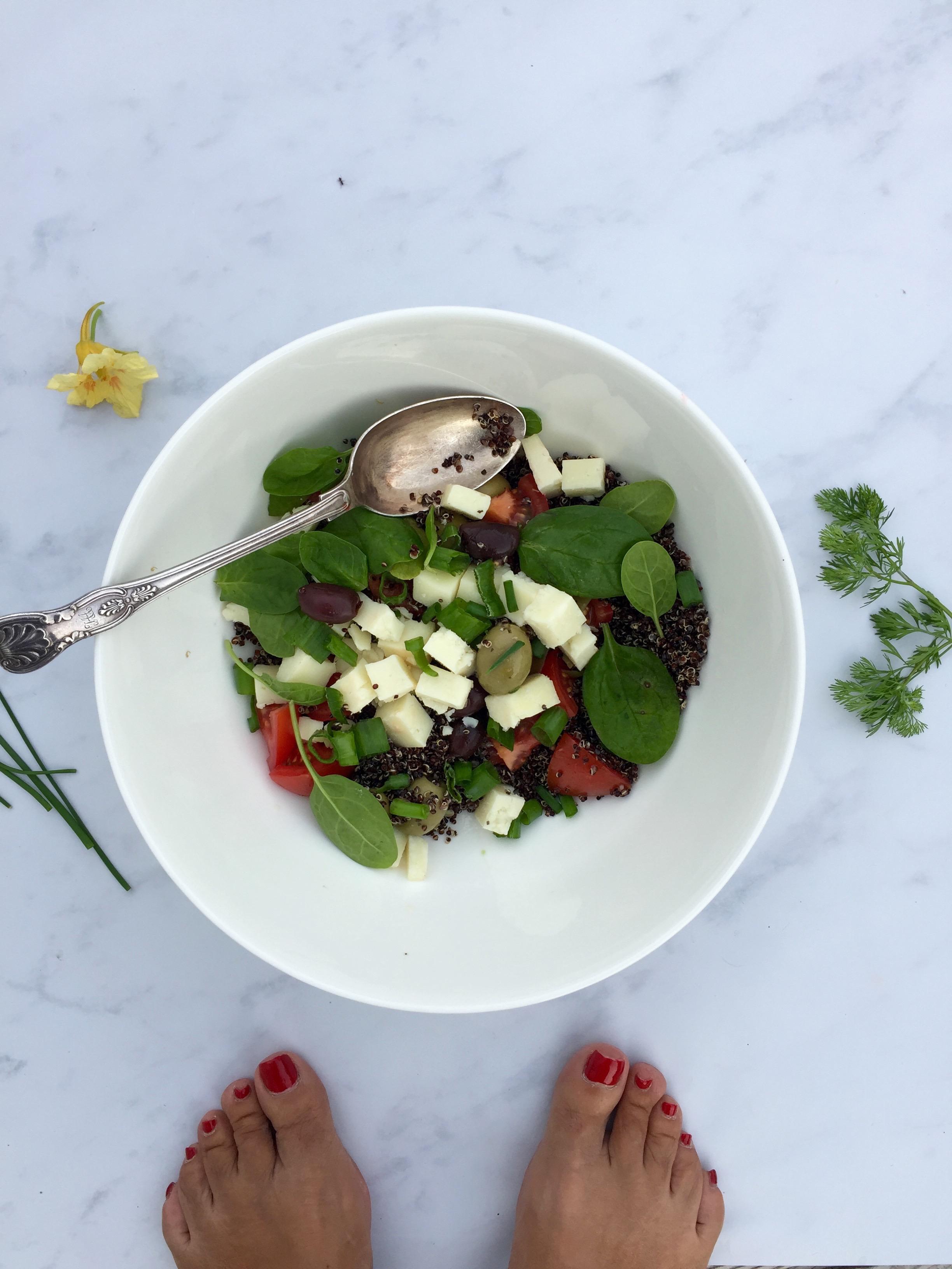 Quinoa salad, ready for a bbq or a picnic.