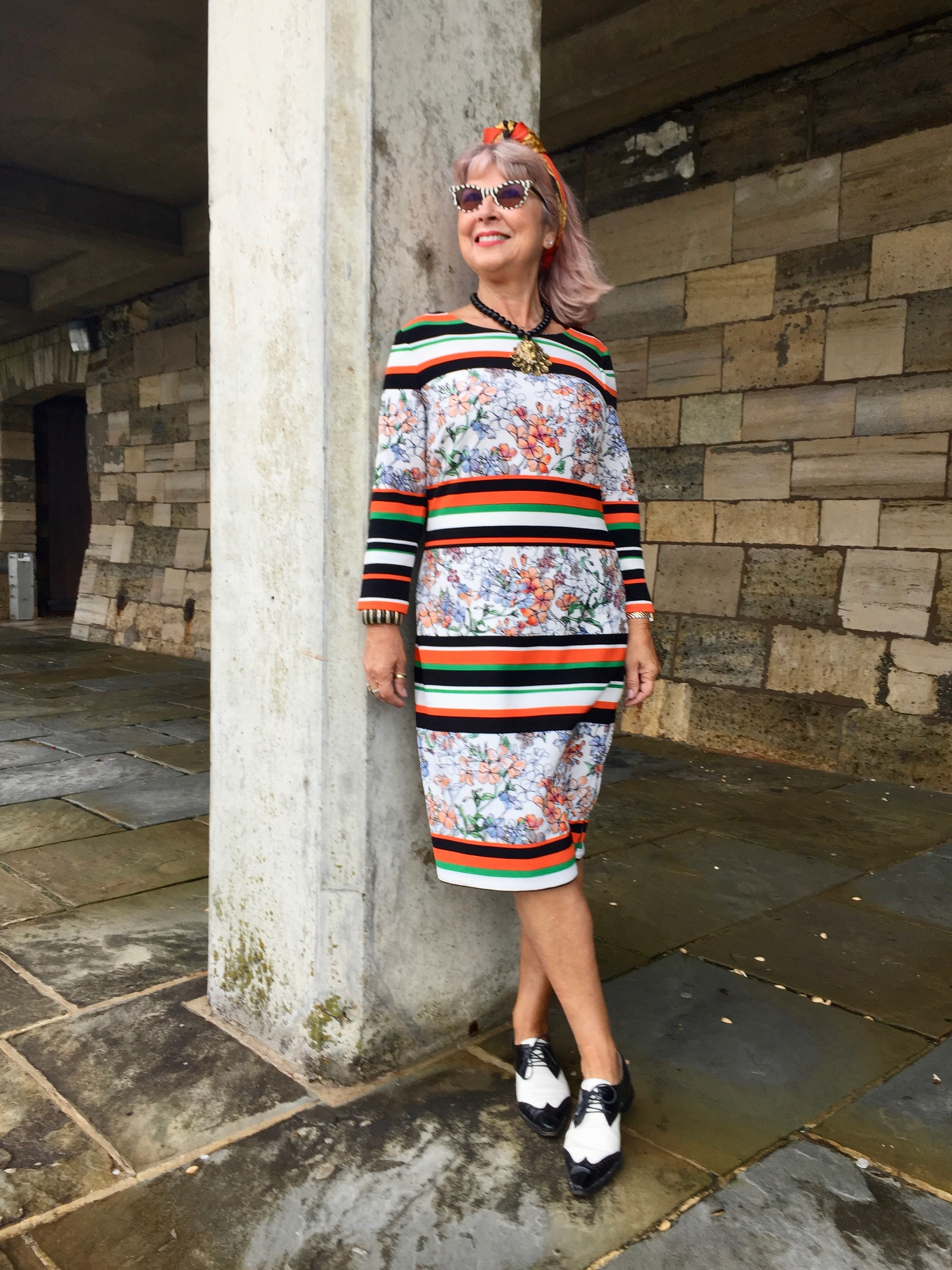 Bargain 80s dress with old Armani shoes, vintage sunnies & headscarf.