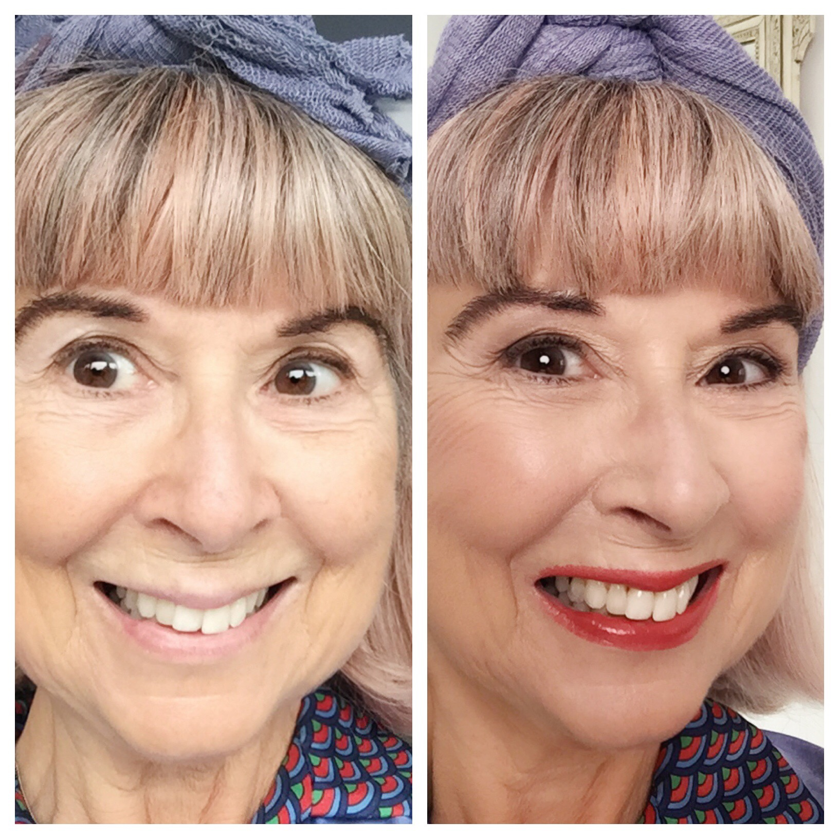 Over50s makeup - before & after