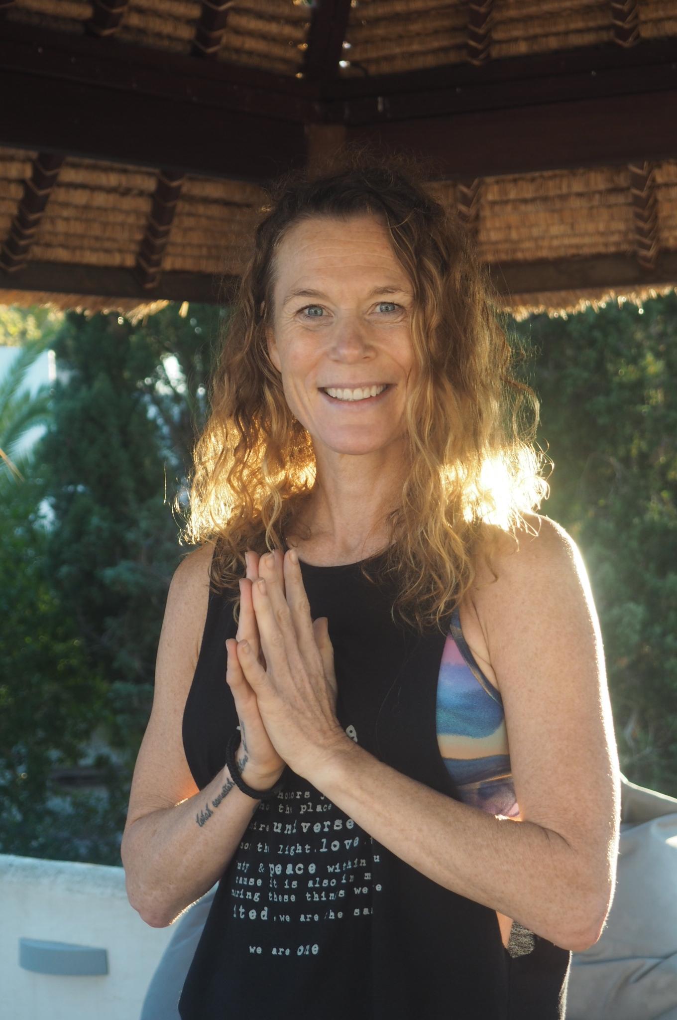 Andrea Everingham, Jivamukti & Restorative yoga teacher. In Ibiza.