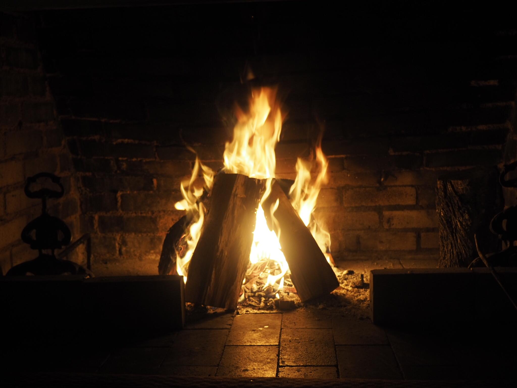 Indoor wood fire.