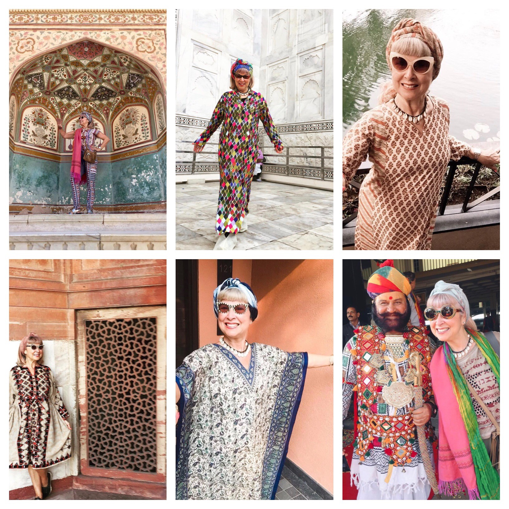 From L-R: Amber Fort, Jaipur, the invisible Taj Mahal, the Leela Hotel in Goa, Humayun's Tomb in Delhi, selfie taken by my door inGoa, and Bikaner, the city of camels and awesome costumes.