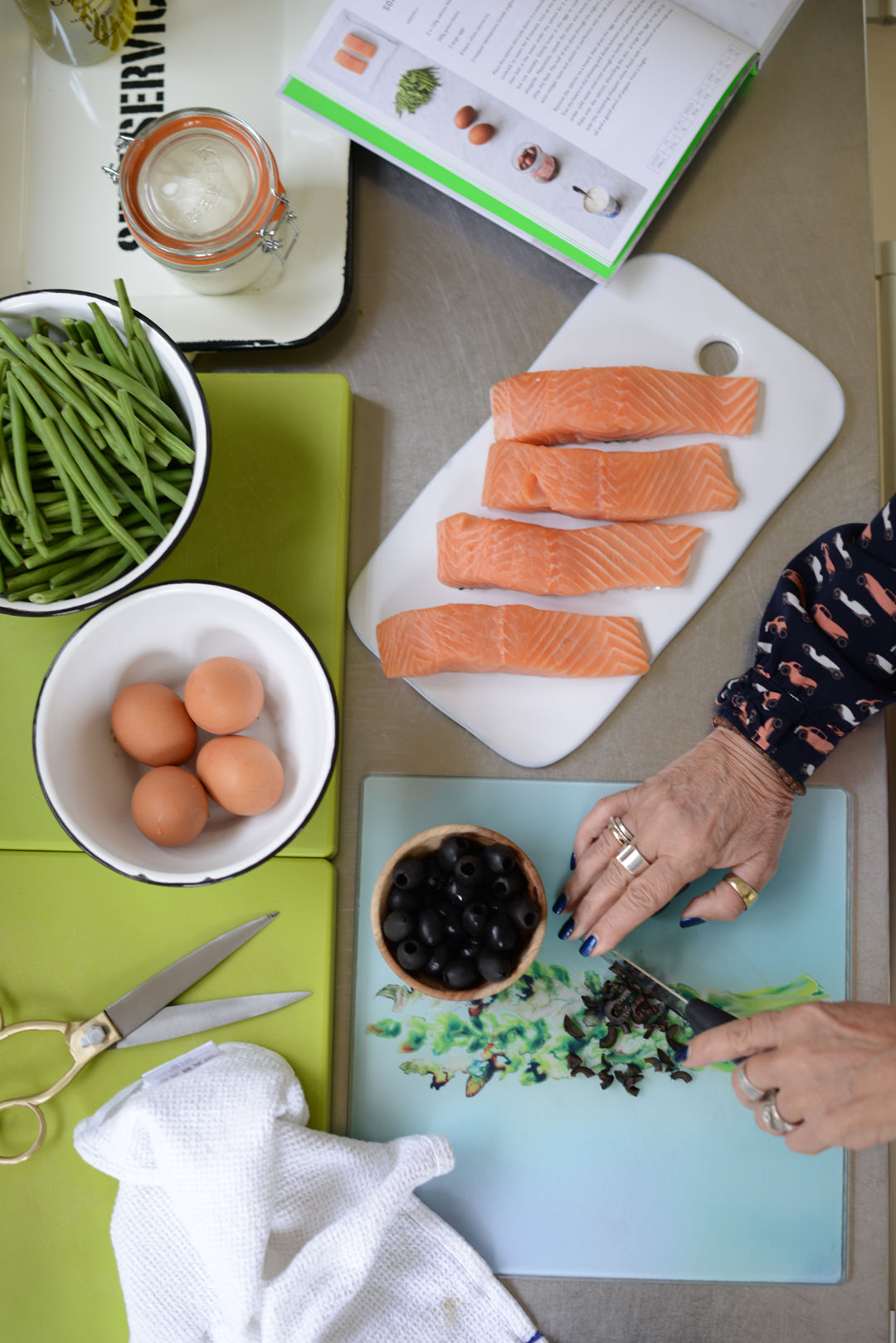 A nutrient-packed light summer meal: salmon, anchovies, eggs, olives & green beans. Photography by Sara Delaney,  Notes from a Stylist.