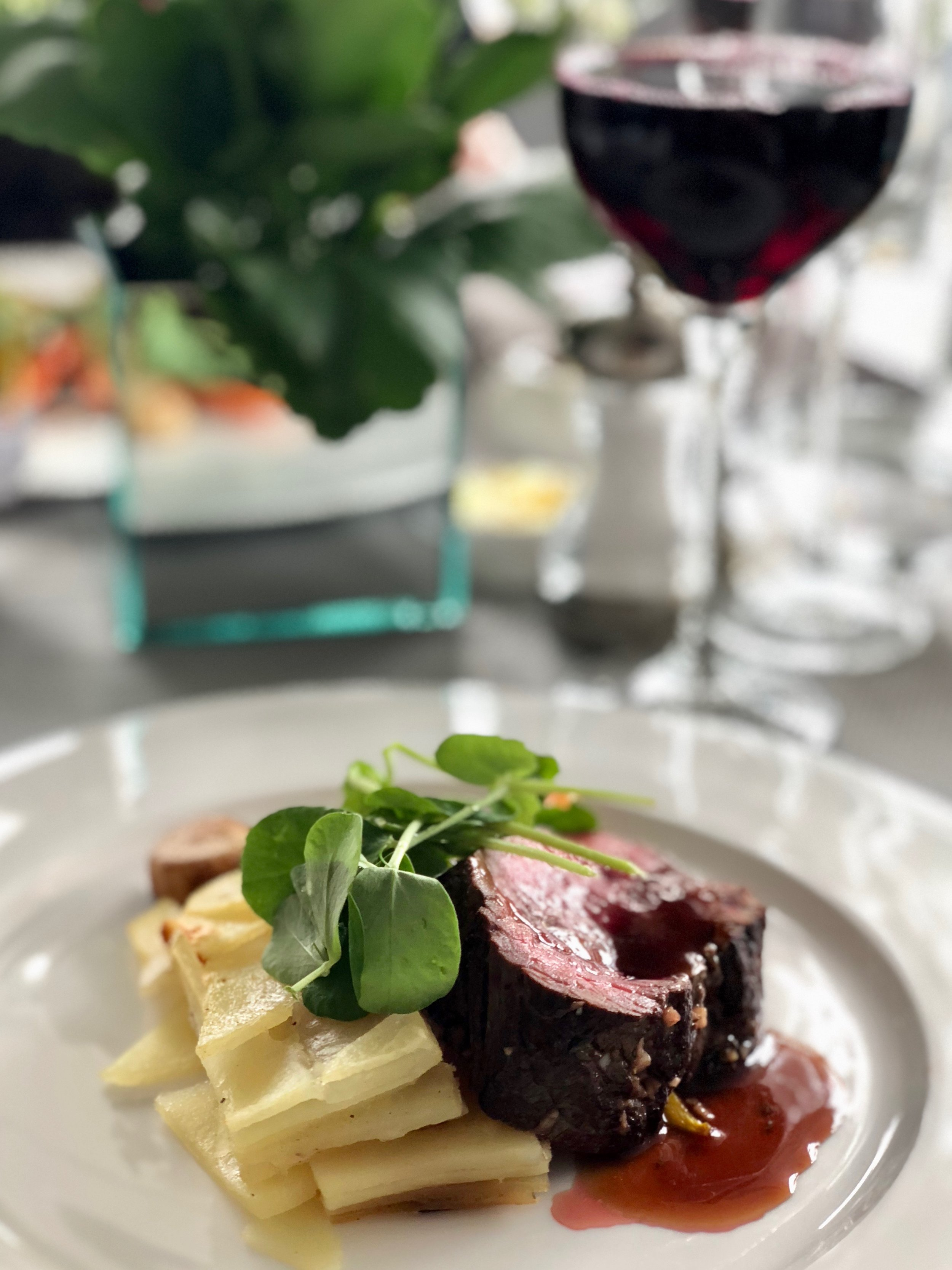 Beef and a glass of red wine
