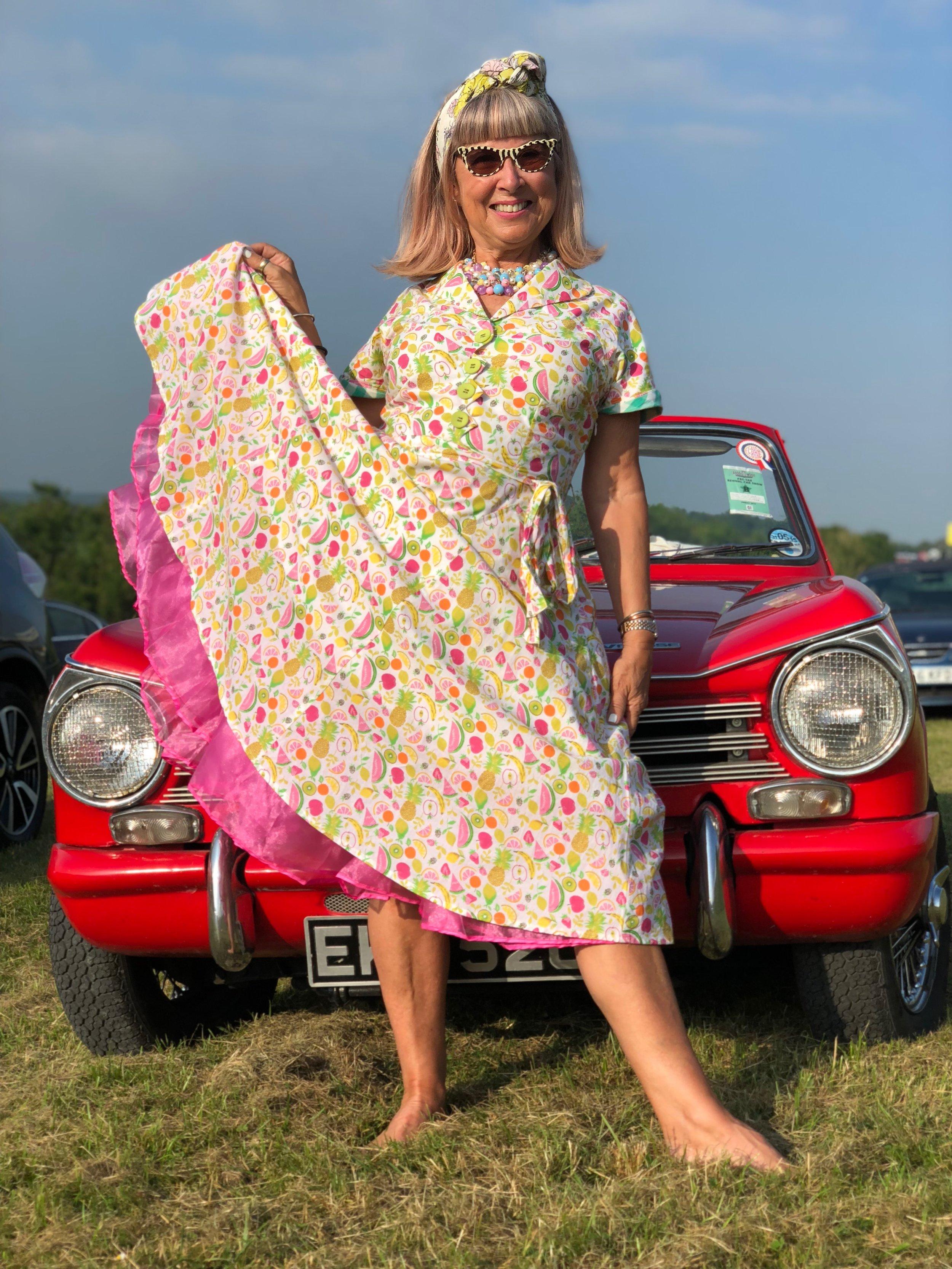 retro 50s dress with vintage car