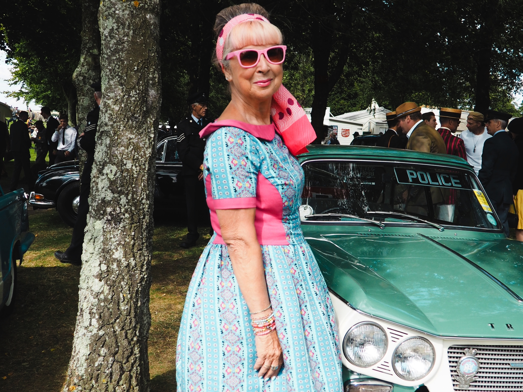 Bespoke retro dress, made from vintage, reclaimed material.