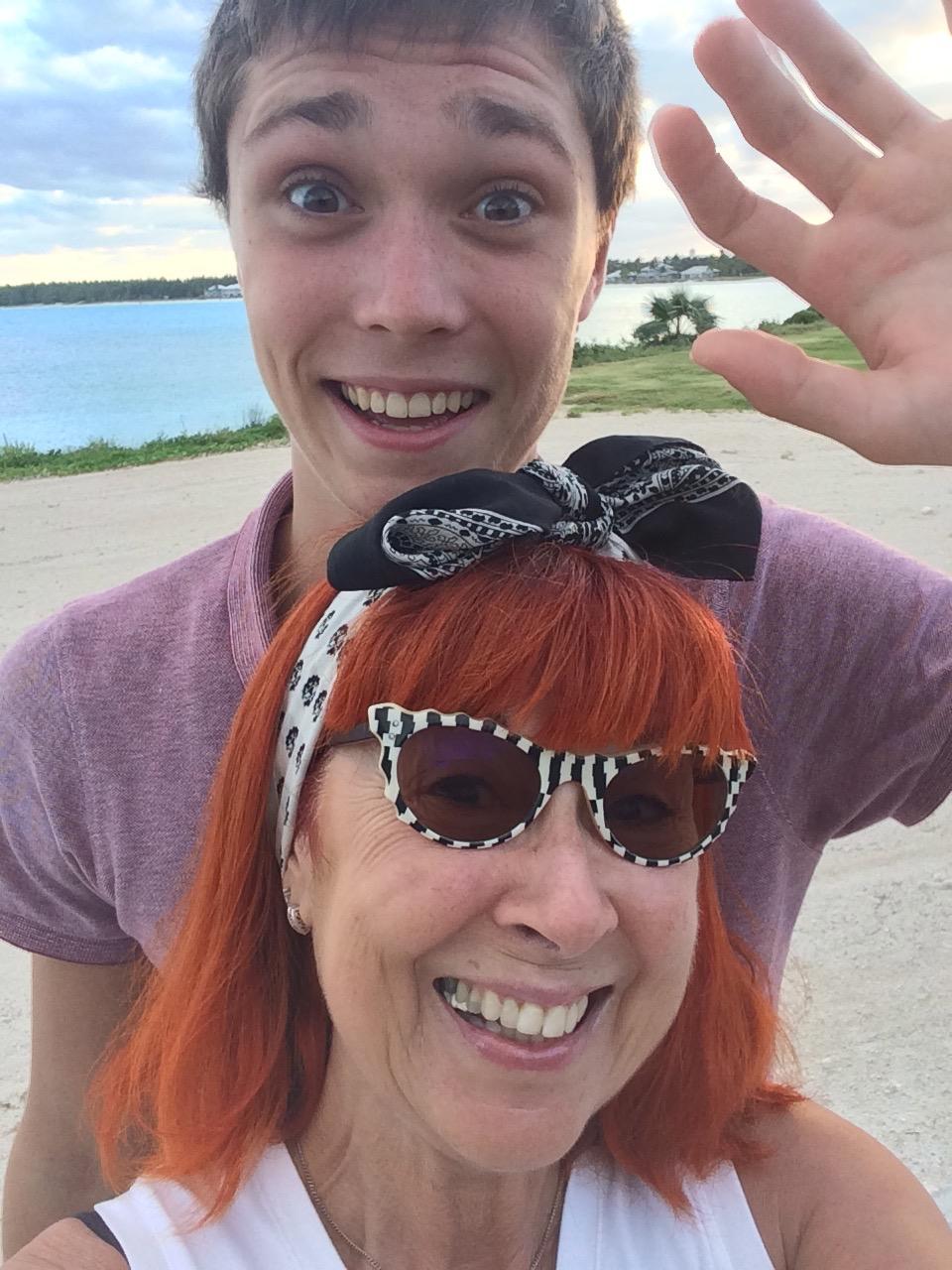 Godson and god mum in the Bahamas
