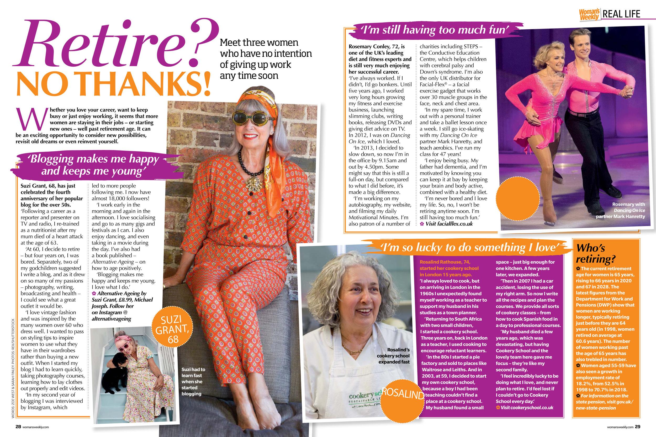 Suzi Grant - Woman's Weekly, Retire? No thanks!