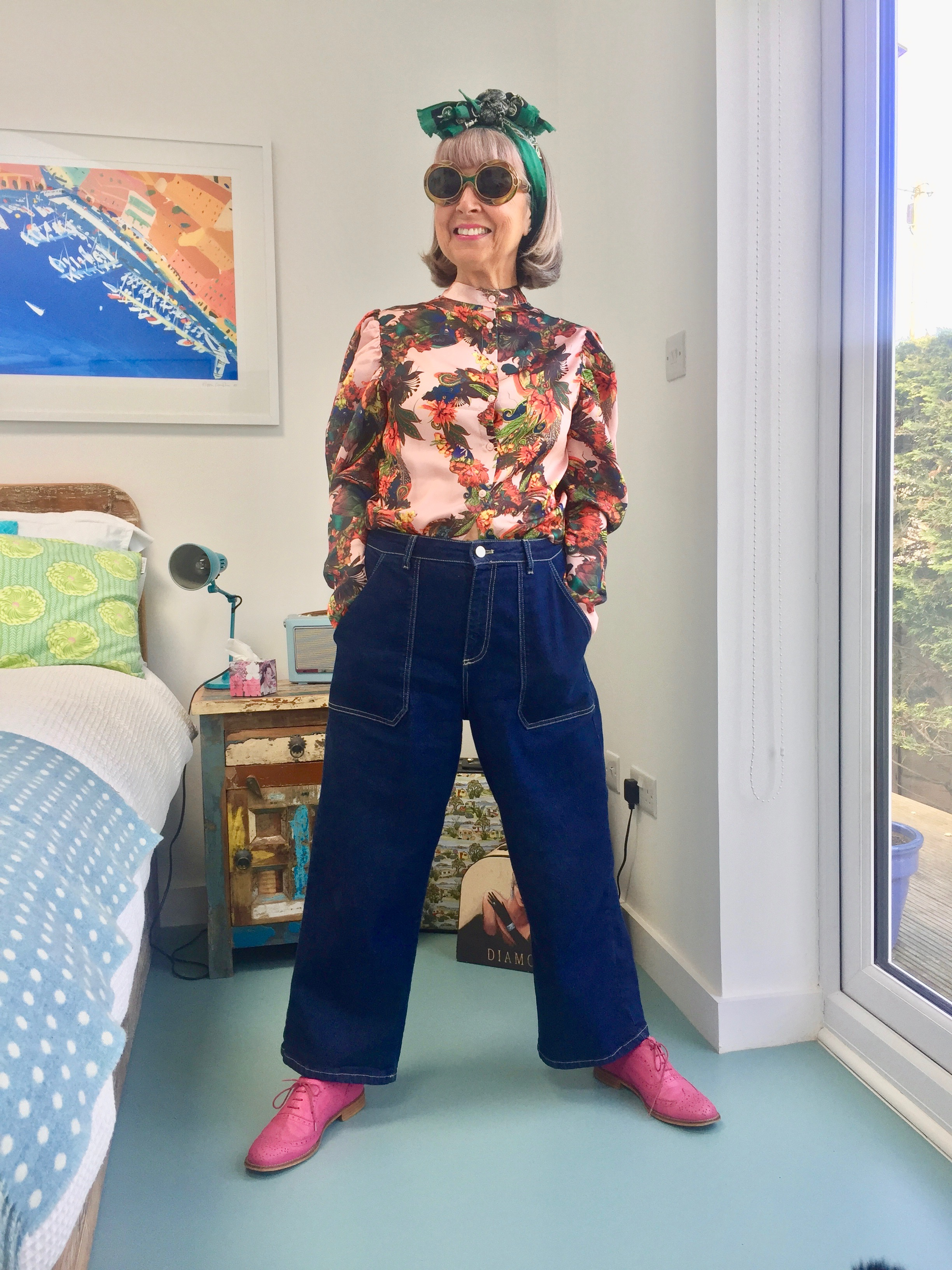 pre-loved blouse with high street vintage style jeans.jpeg