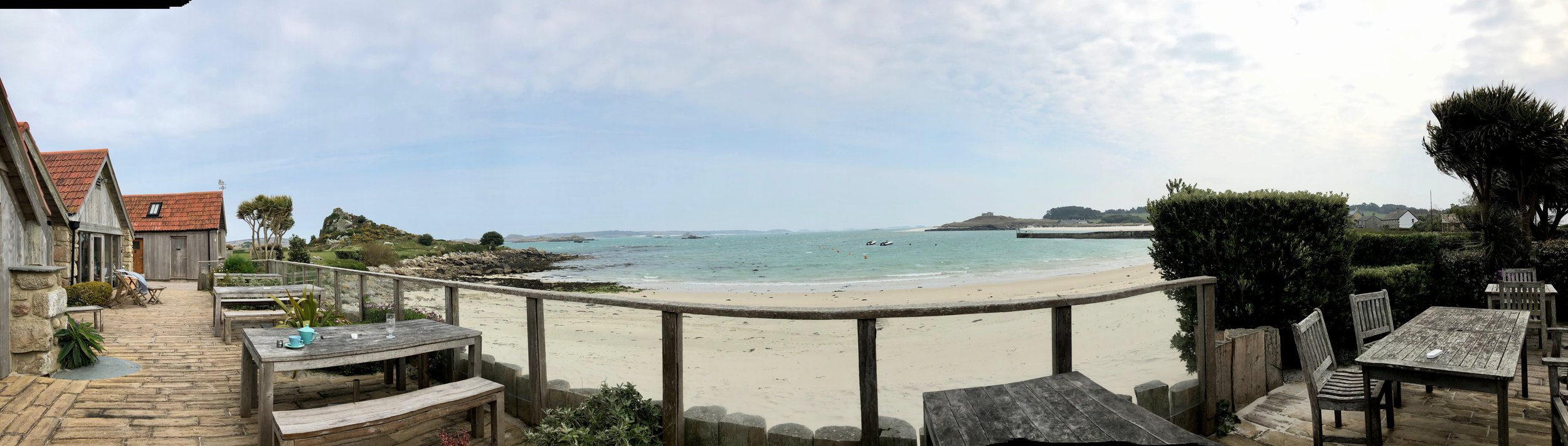 The beach view from the Ruin Beach Cafe, Tresco, Isles of Scilly.