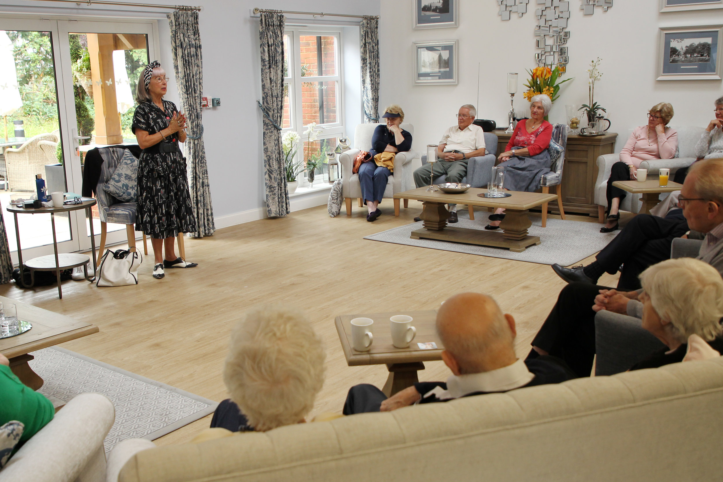 Giving my positive ageing talk in Langton's communal lounge.