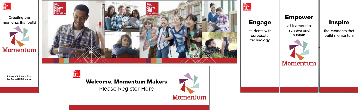 Momentum themed California education event  Conceptualized and designed in InDesign with a team of 2 copywriters and an intern.