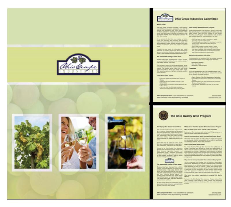Ohio Grape Industries marketing kit  Designed in InDesign