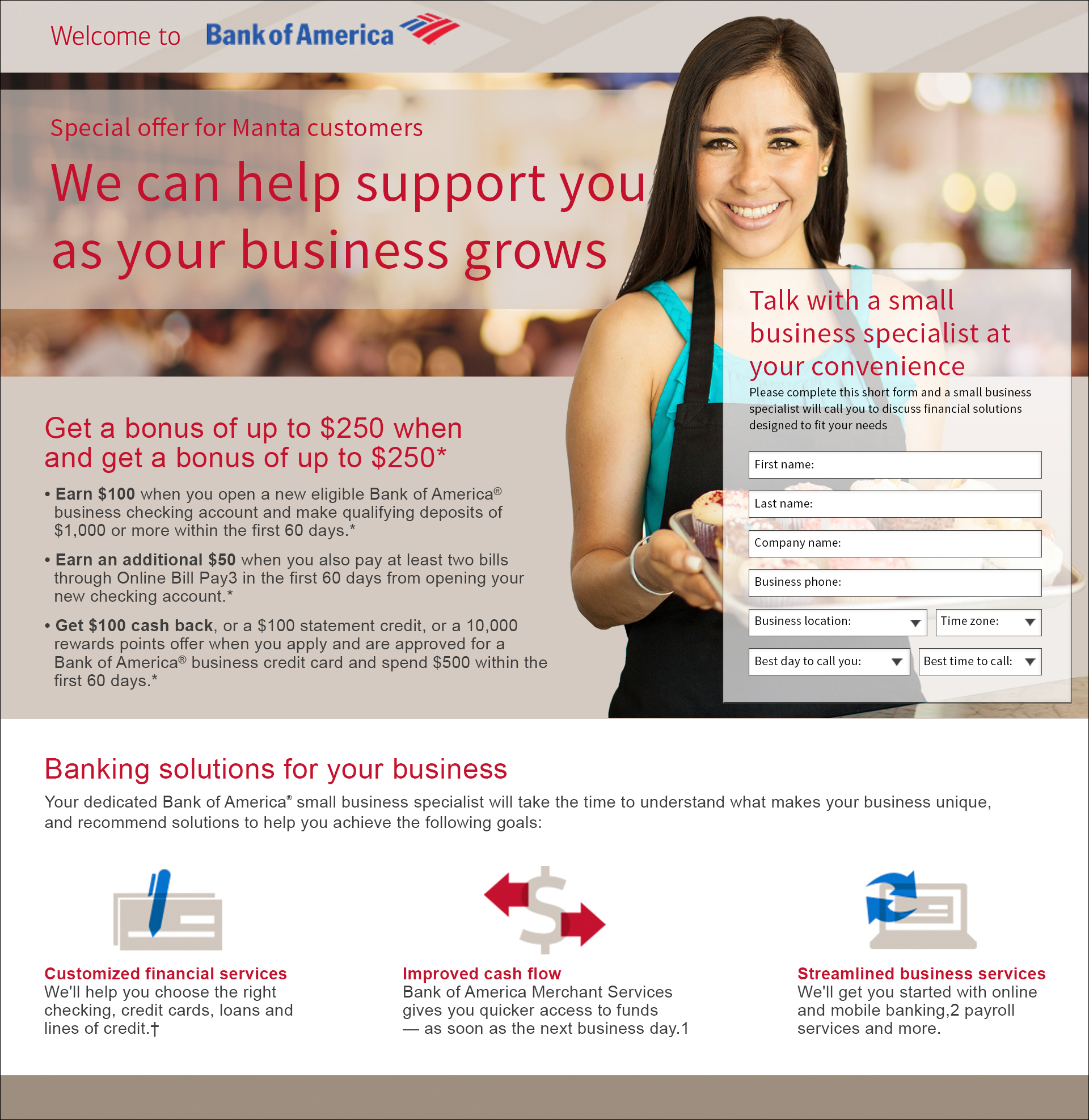 Bank of America small business landing page  Conceptualized and designed in Photoshop