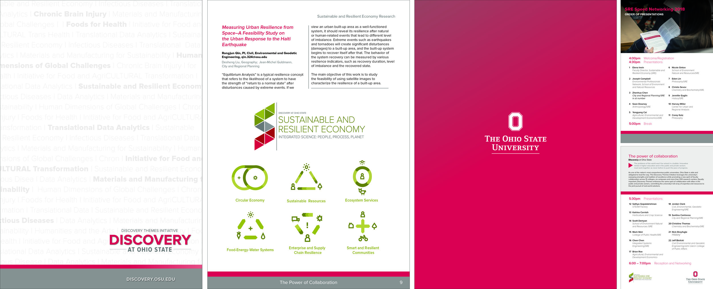 The Ohio State University, Sustainability & Resilient Economy Discovery Brochures  Concept and design with InDesign; Photography